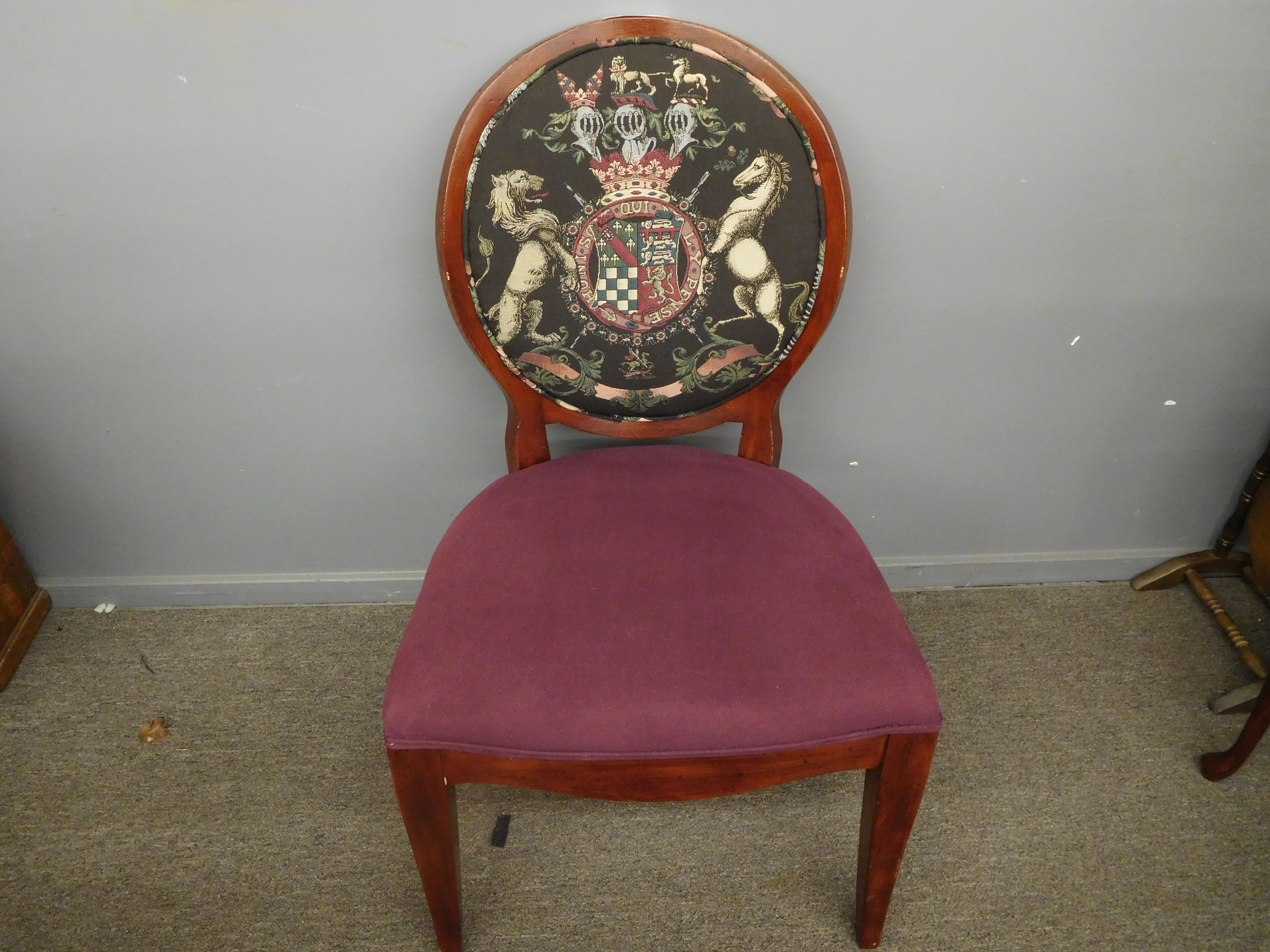 Henredon Coat of Arms Accent Chair with Wine Upholstered Seat