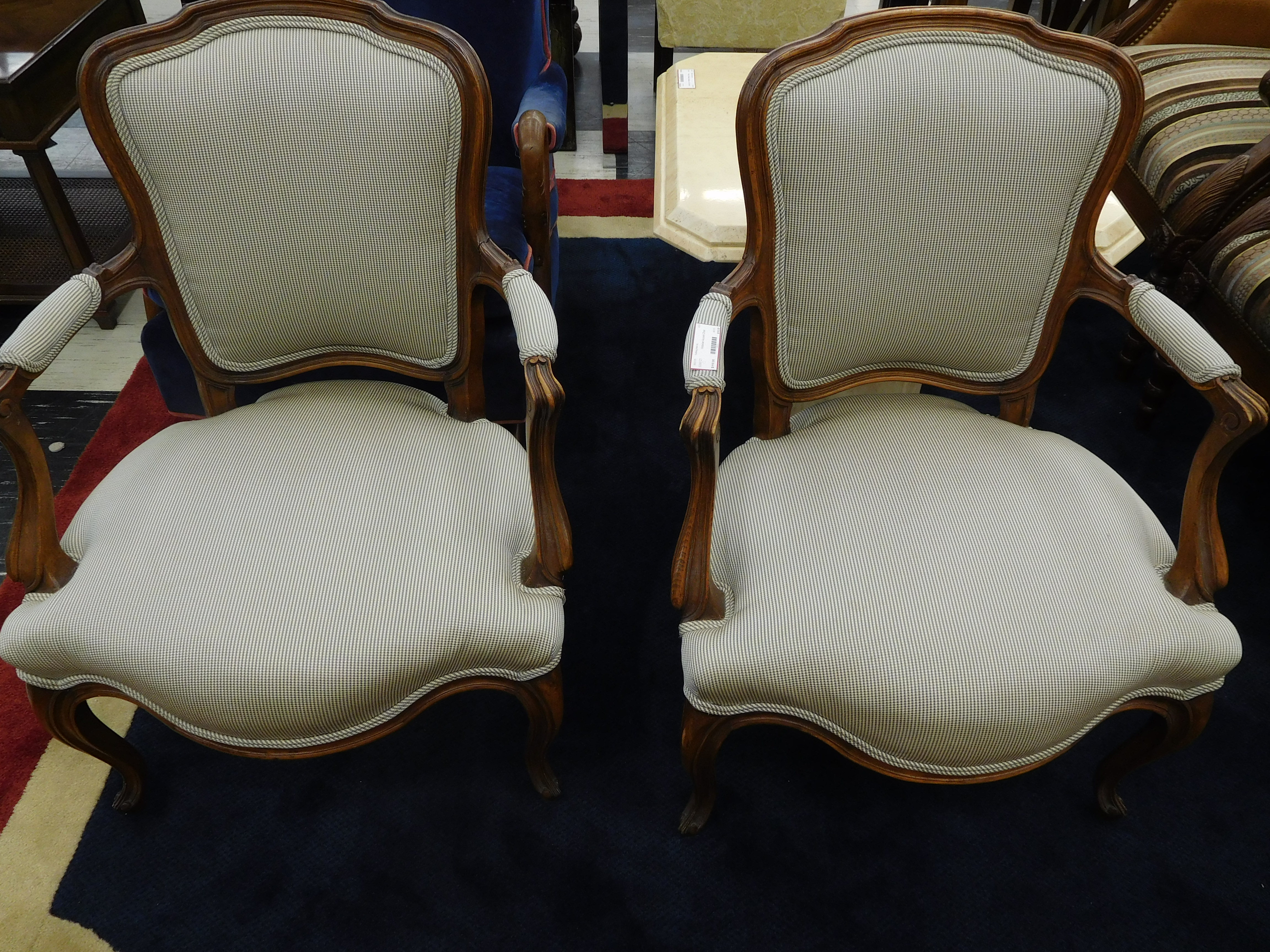 Victorian Accent Chair with White Upholstery