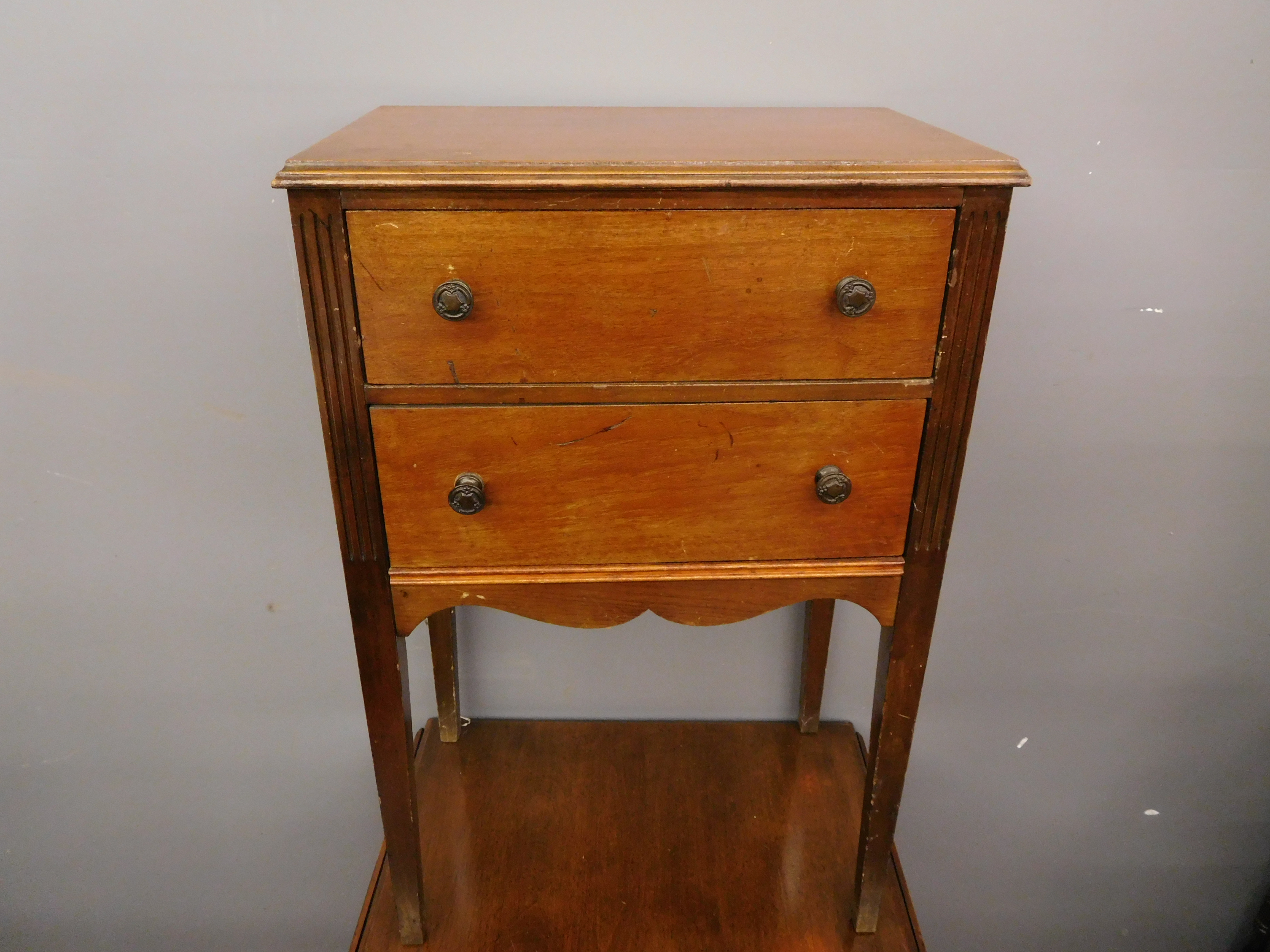 Vintage Sewing Supply Storage End Table