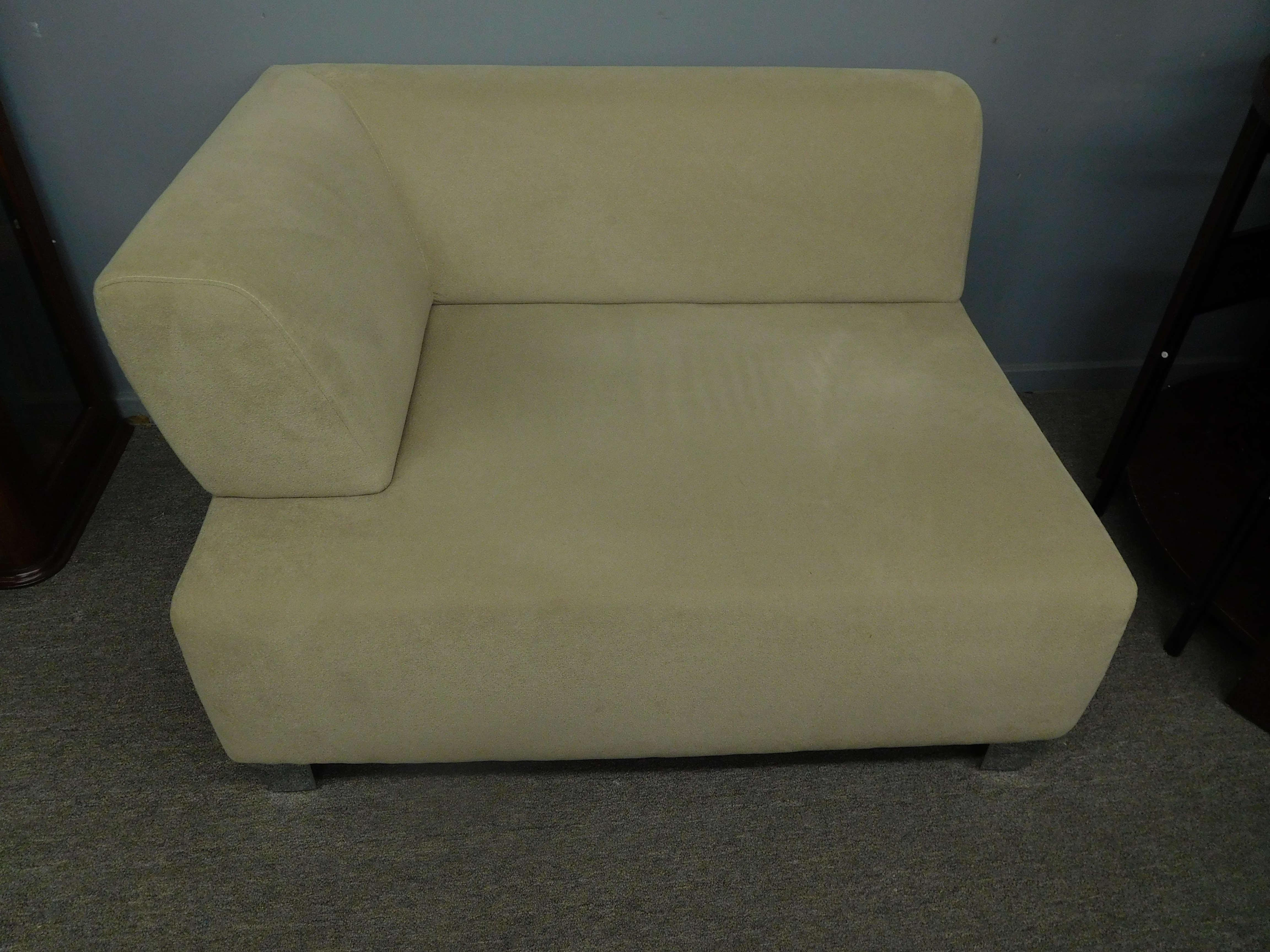 Modern Neutral Tone Square Chaise Lounger w/ Armrest