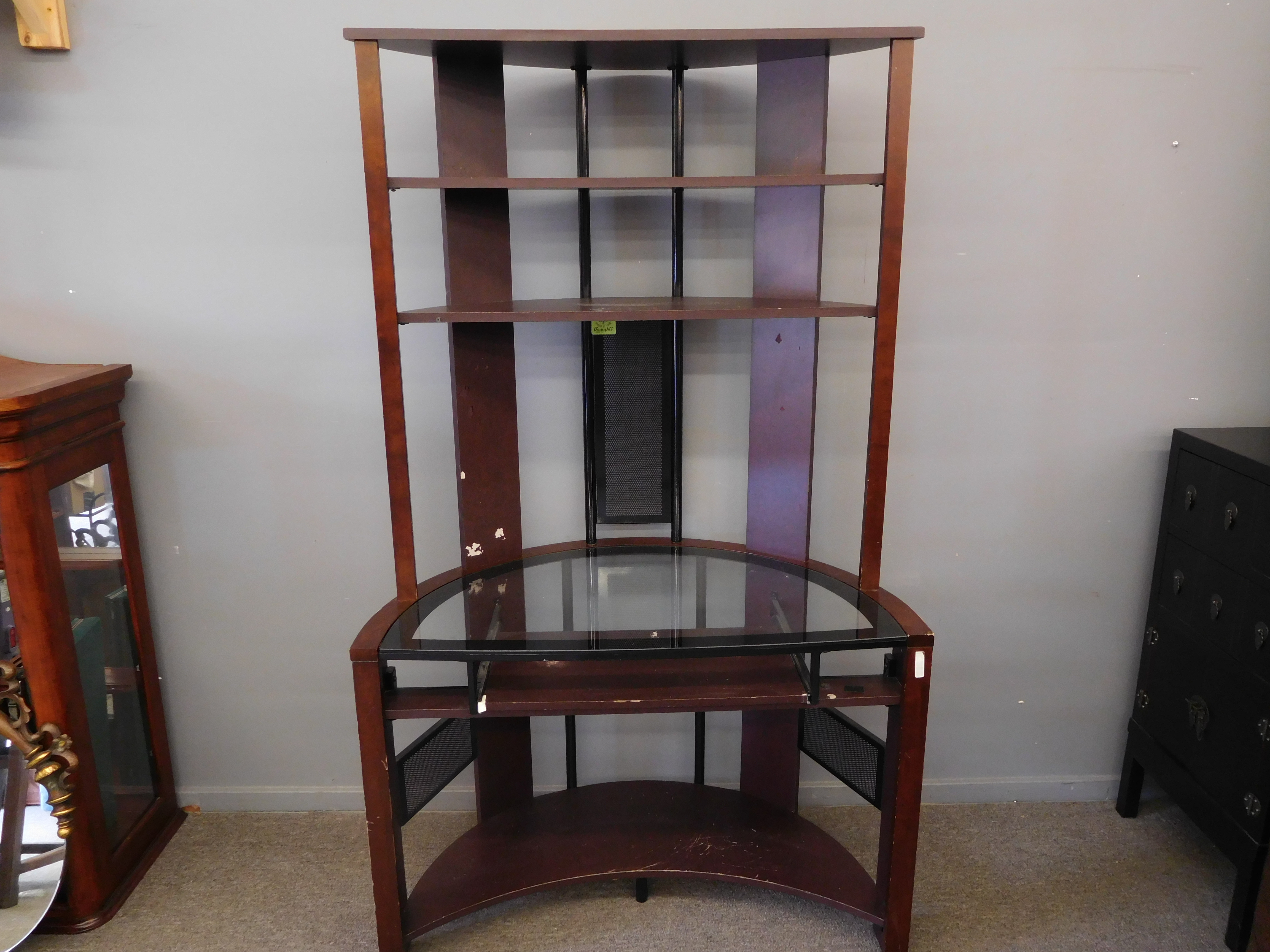 Modern Glass Top Computer Desk with Half Moon Shelves