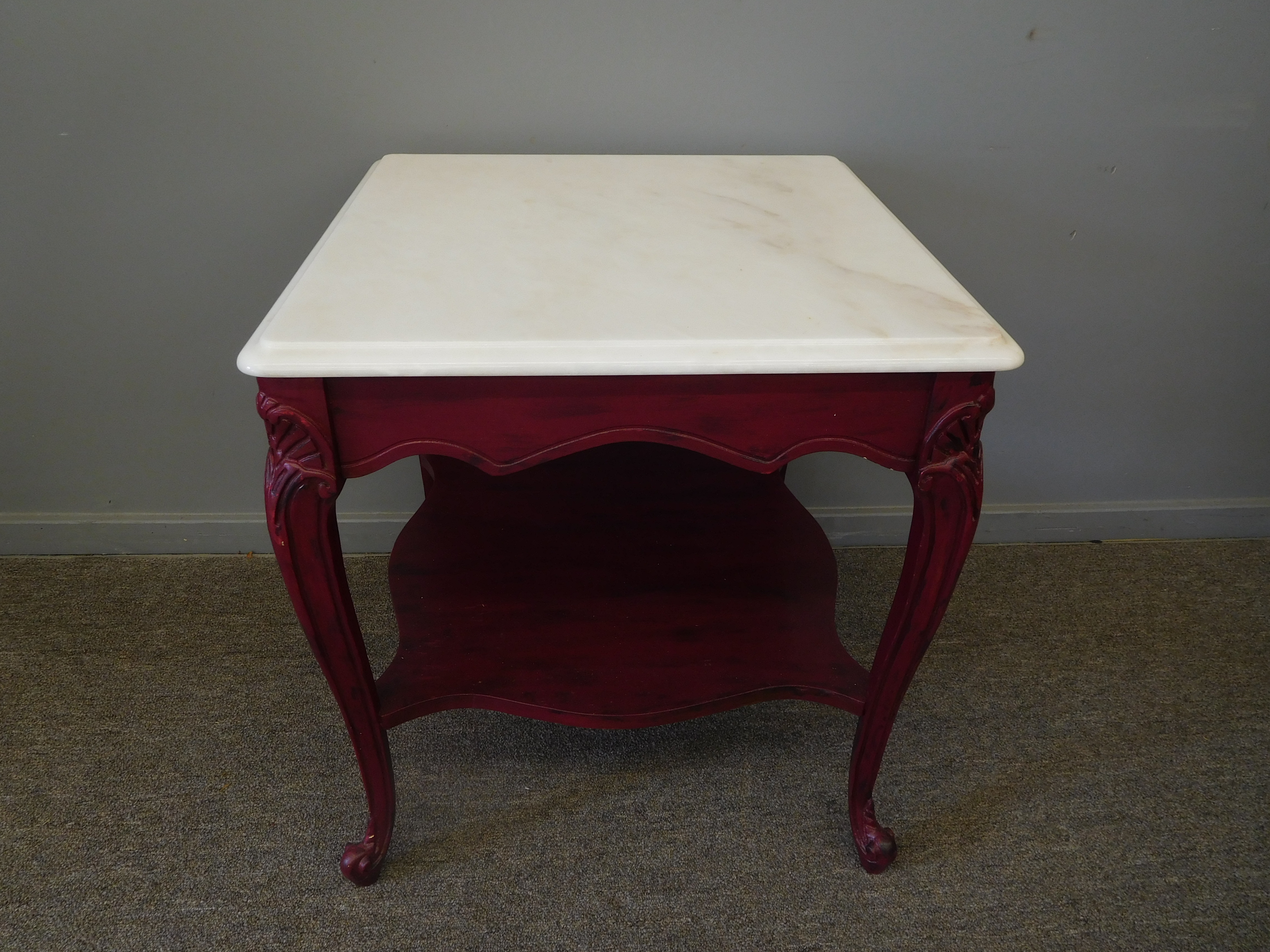 Mahogany End Table with Marble Top