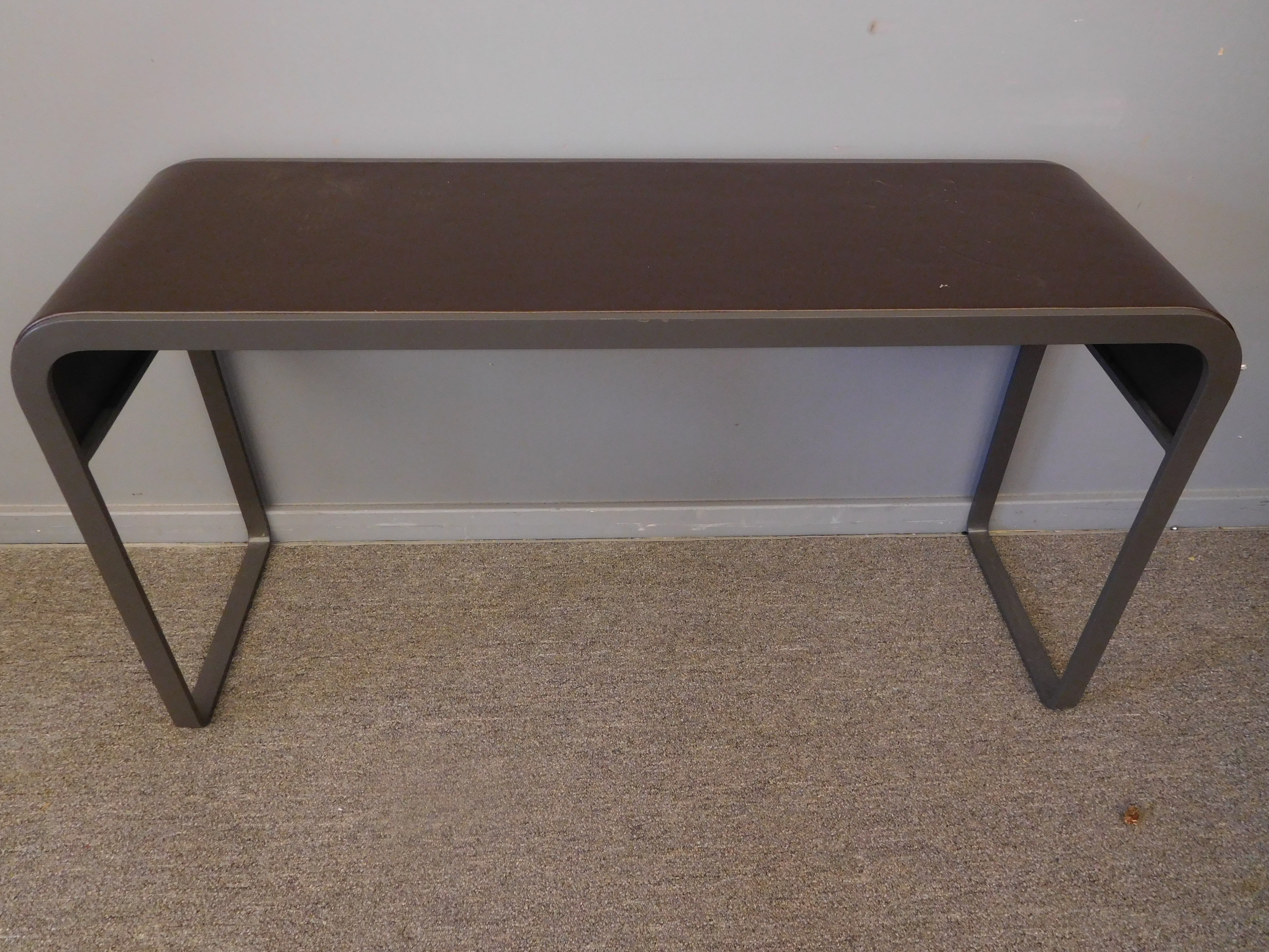 Modern Bench with Metal Base and Leather Top