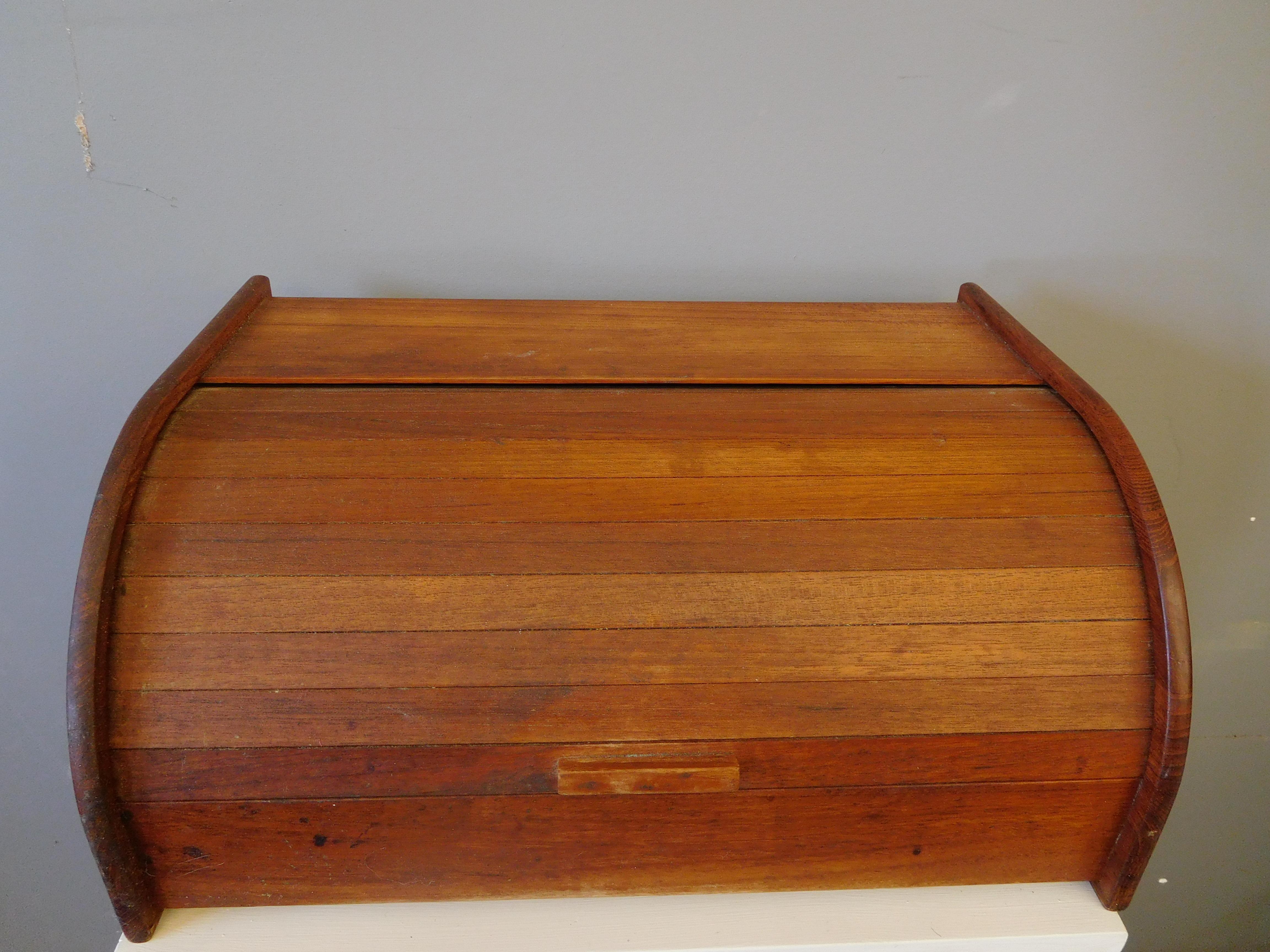 Mid Century Kalmar Teak Roll-Top Bread Box