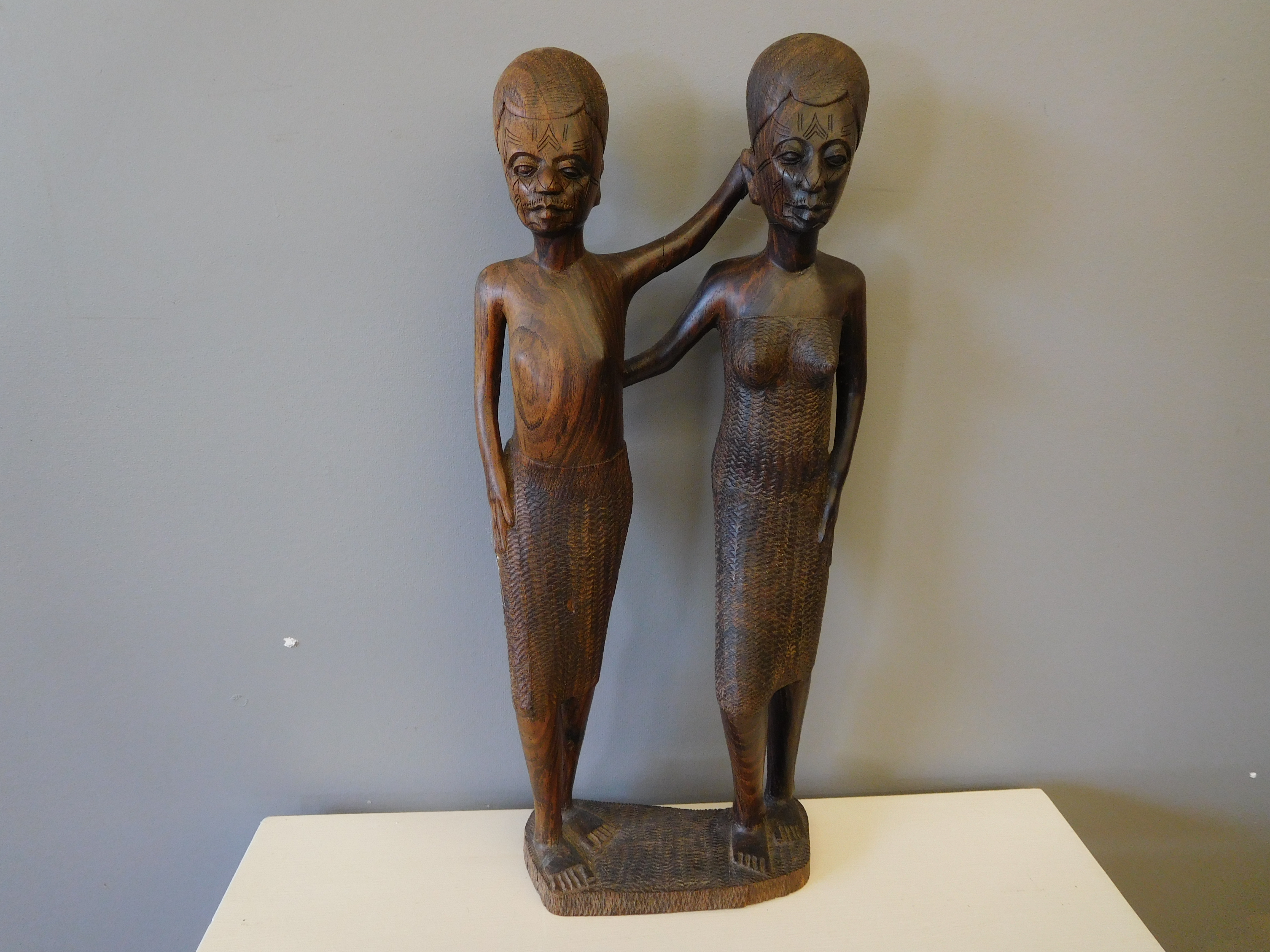 Vintage African Hand Carved Ebony Wood Statue