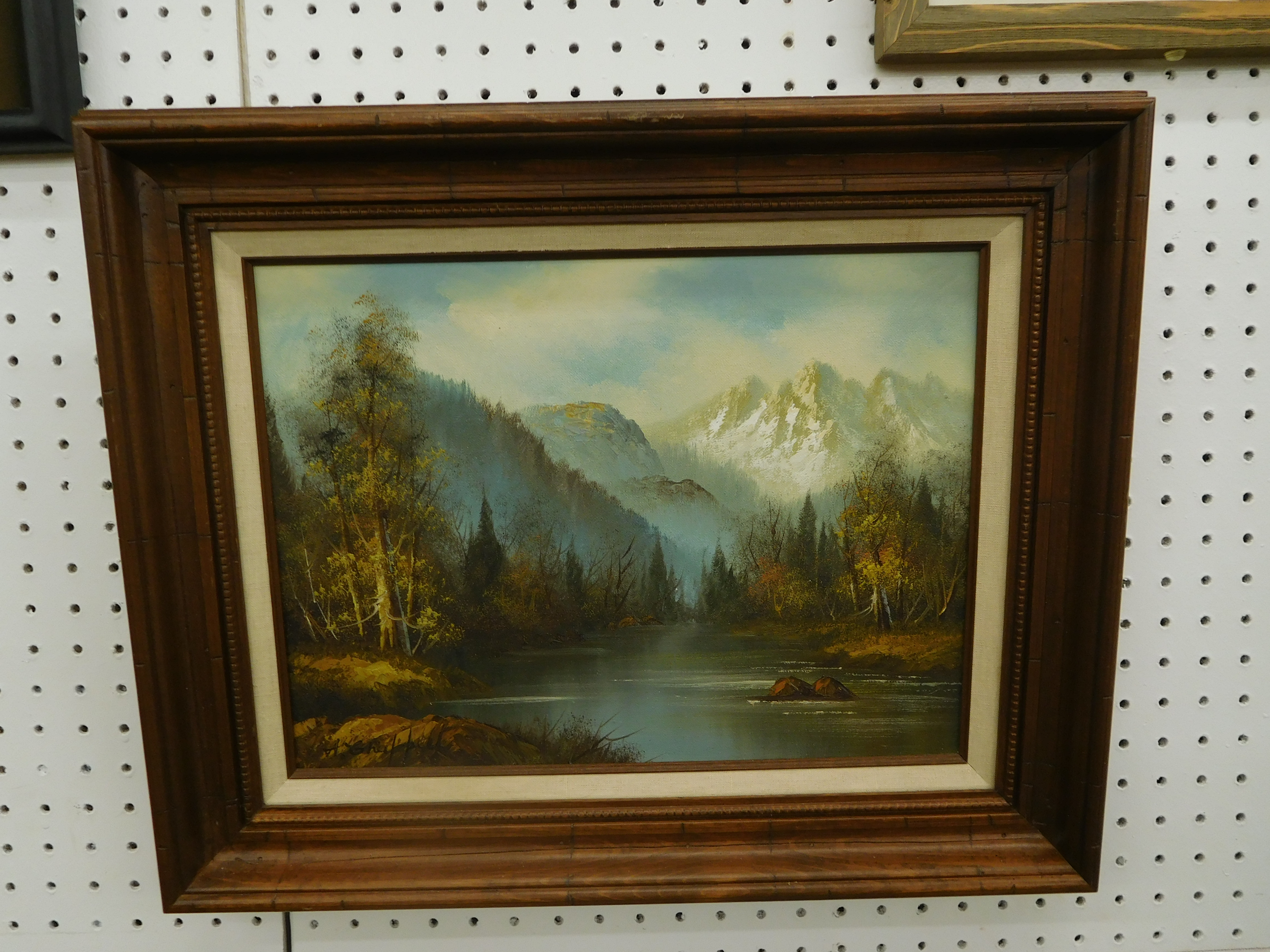Oil On Canvas Painting of Mountains, River and Sky - by Bell