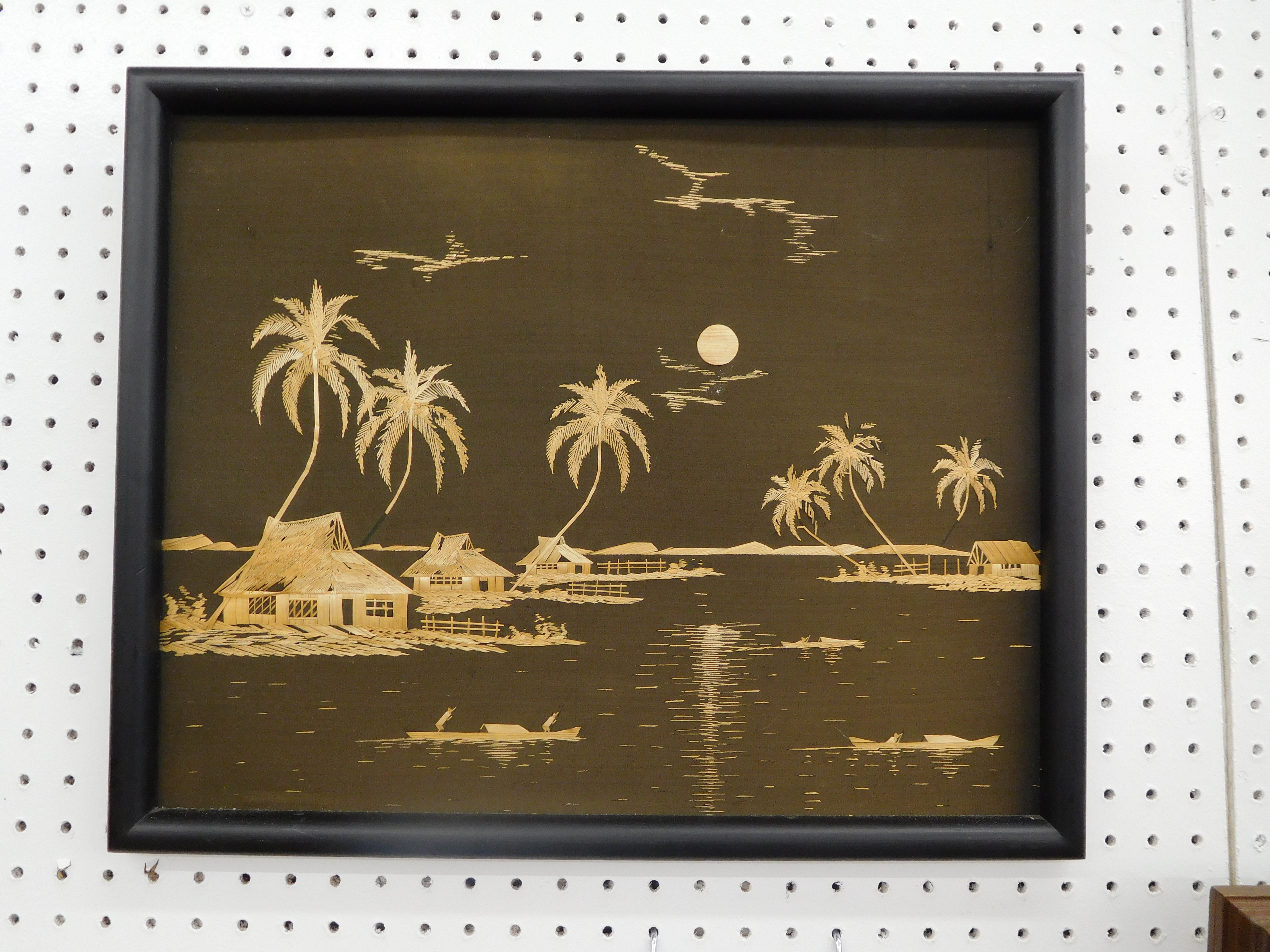 Framed Asian Art - Huts and Palm Trees in the Moonlight