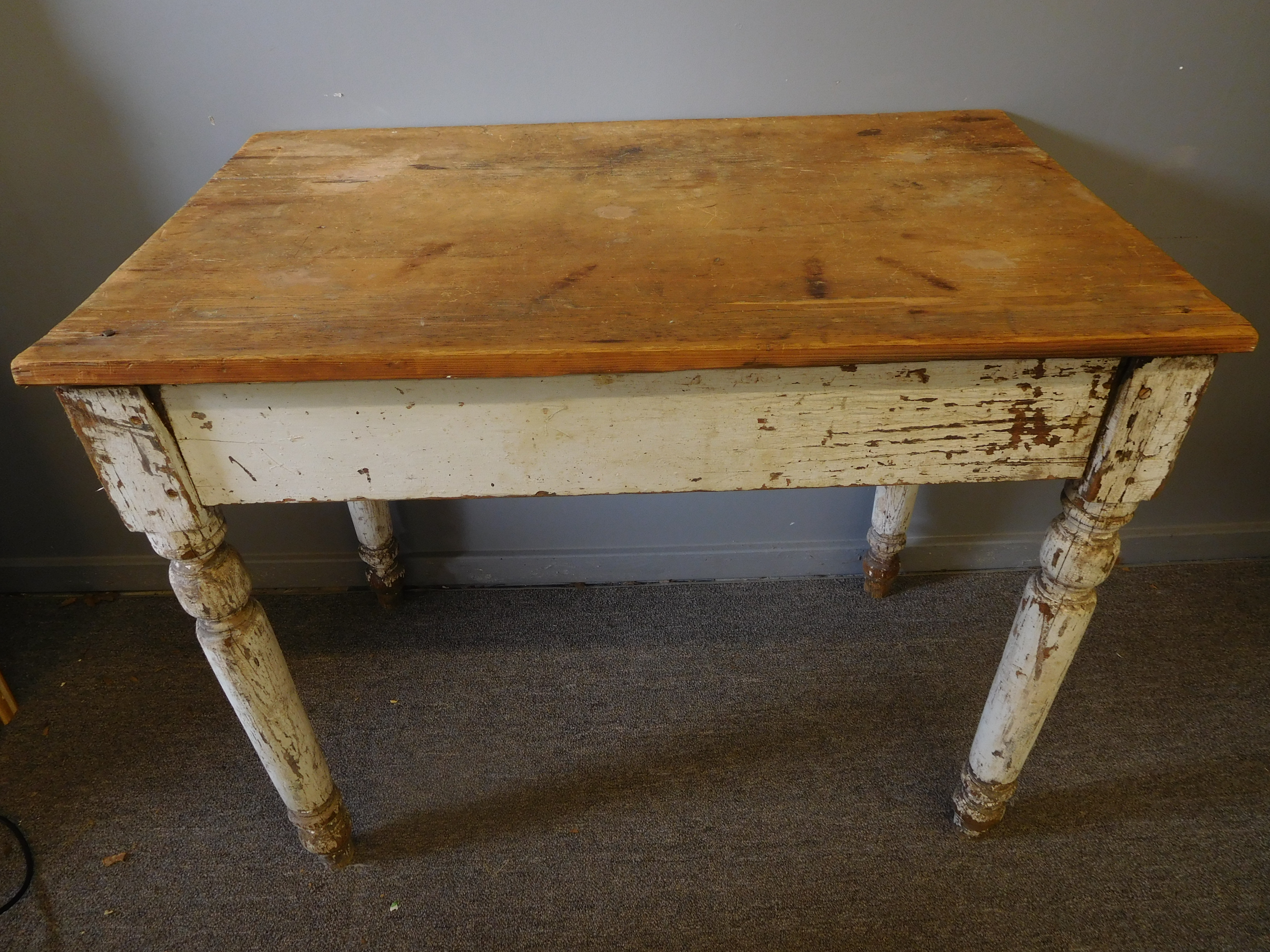 Primitive English White Painted Pine Table, Naturally Distressed