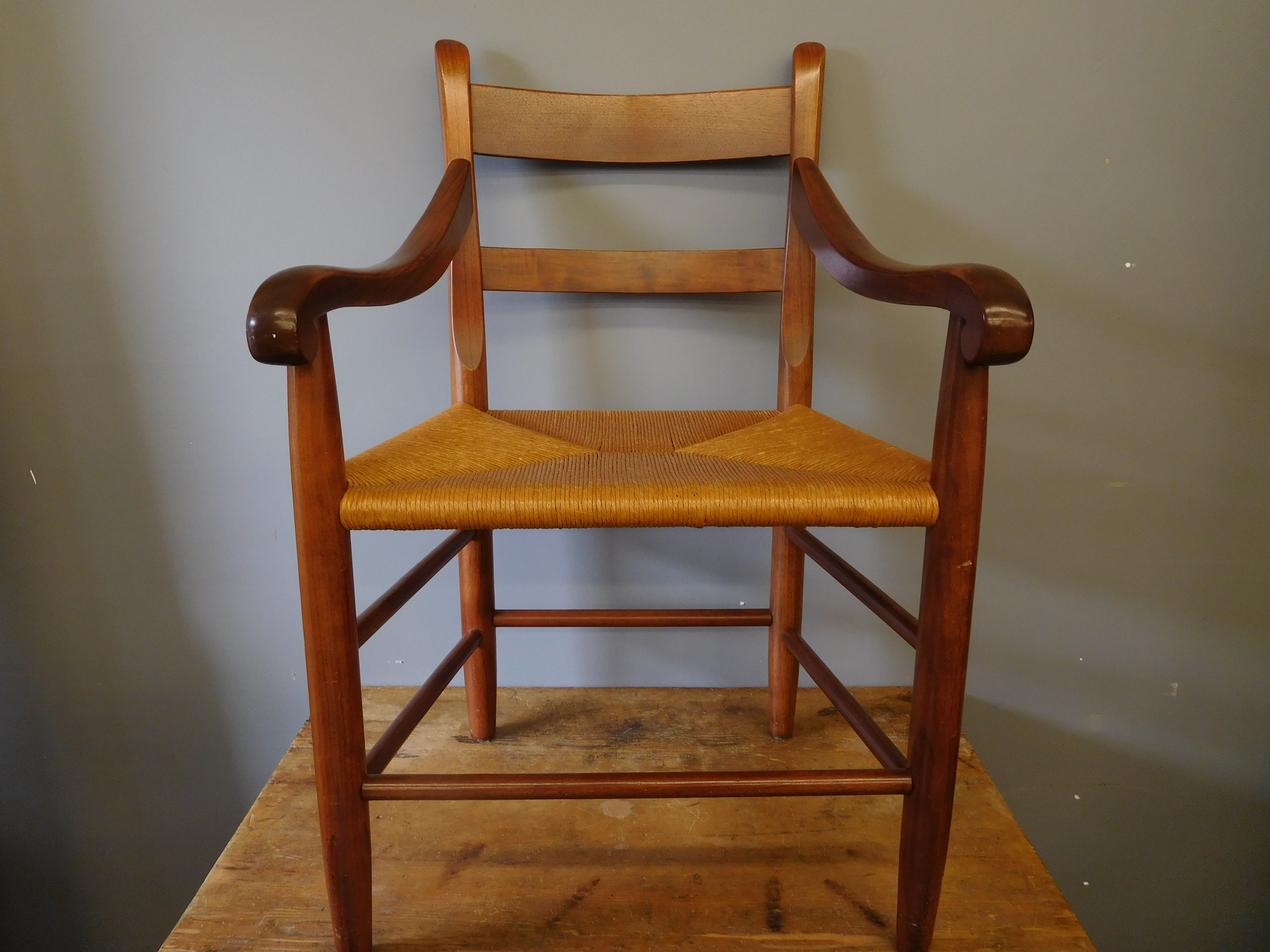Wood Accent Chair with Wide Rush Seat and Matching Stool
