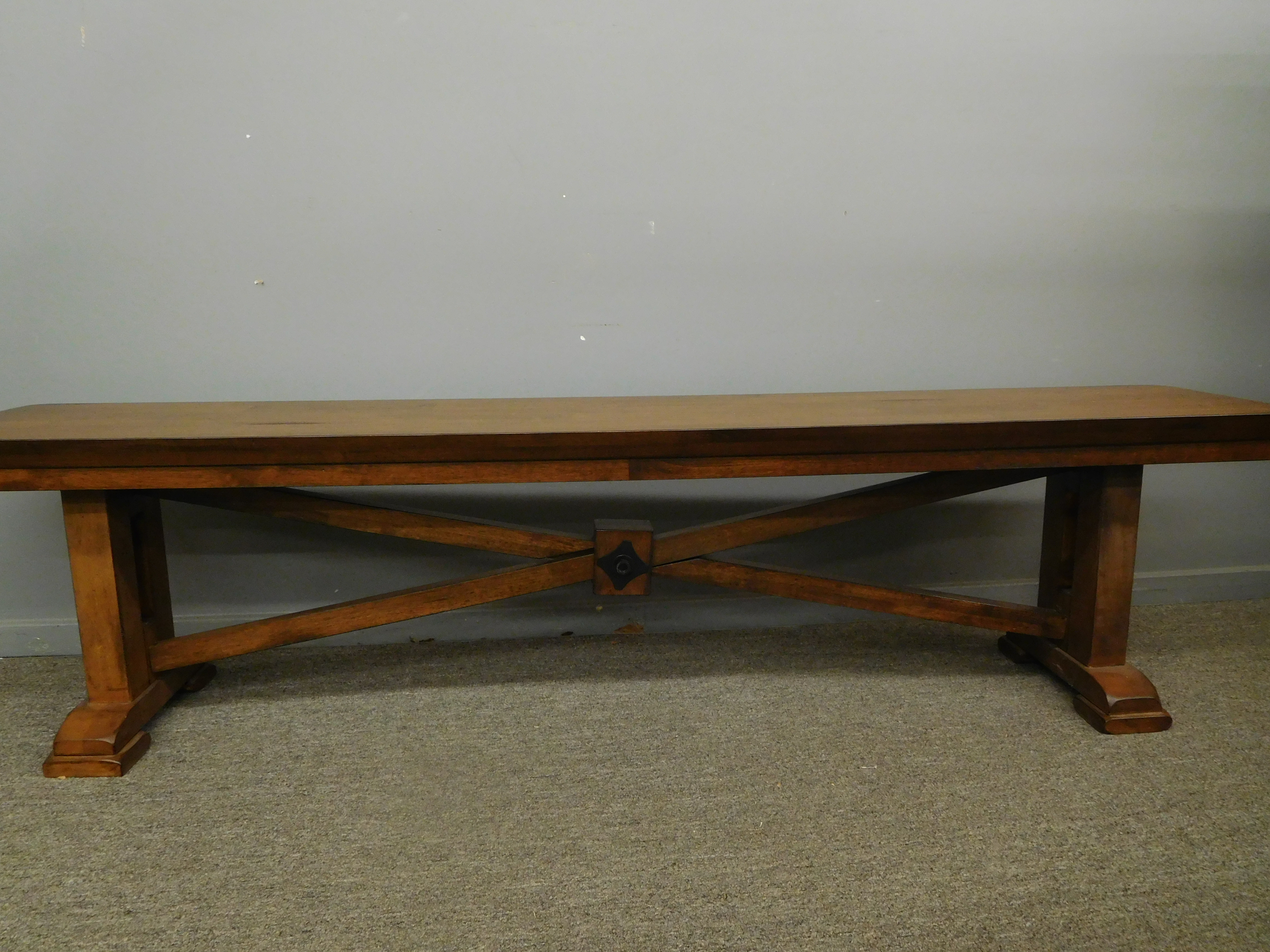 Unique Vintage Handcrafted Wood Bench with Lengthwise X-Brace