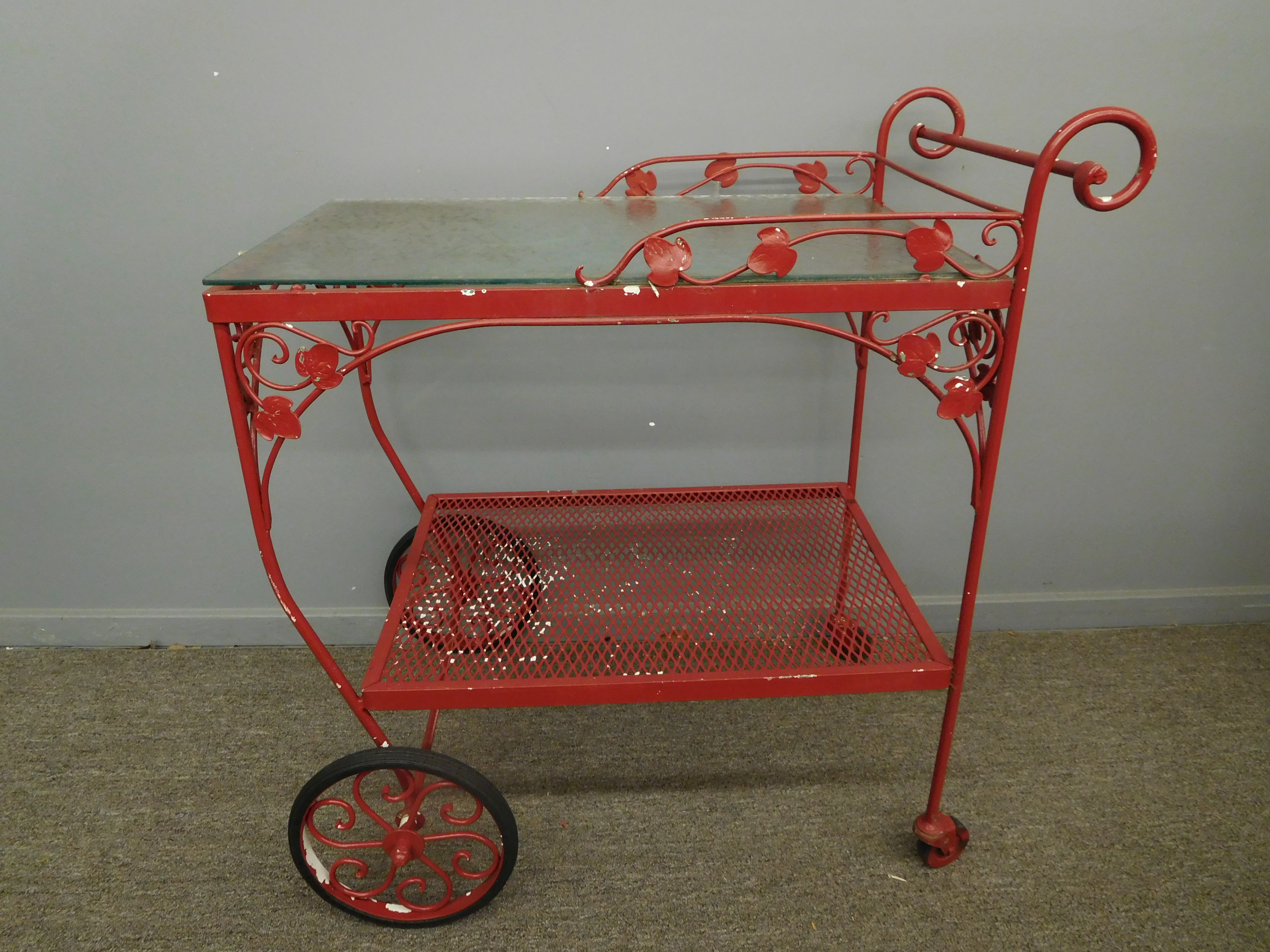 Vintage Red Painted Garden Cart with Glass Top