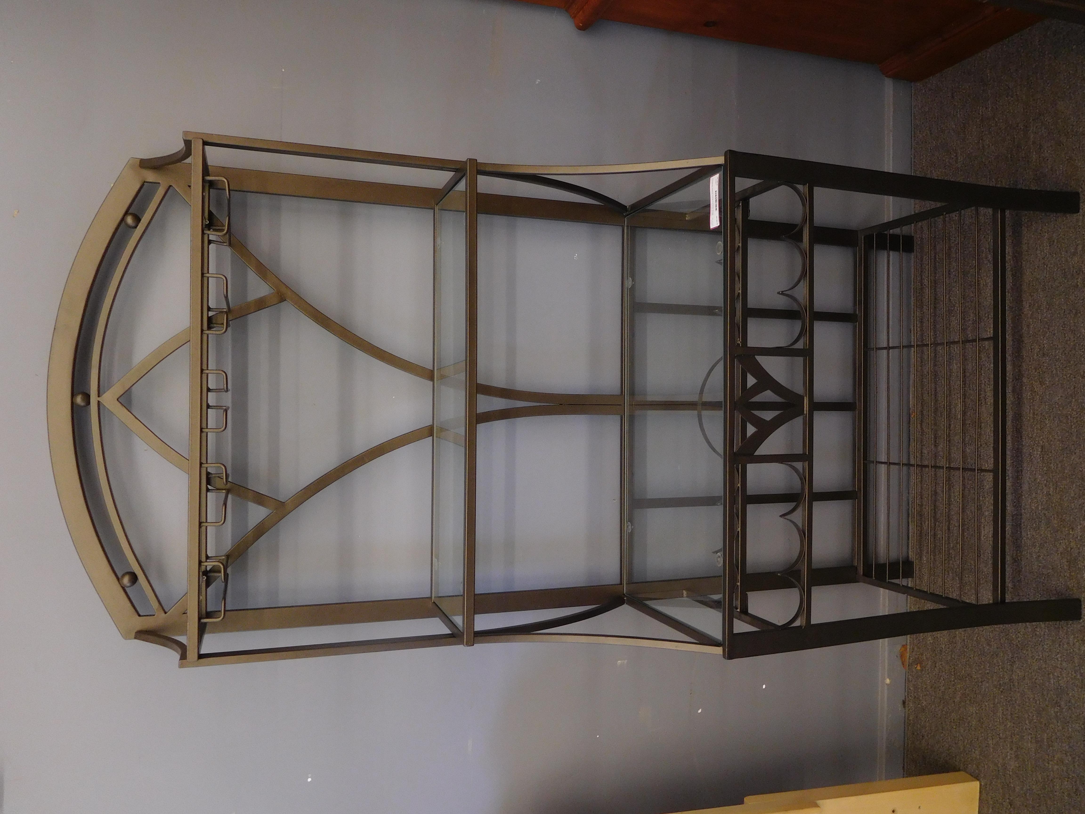 Deco-Inspired Metal Baker's Rack with Glass Shelves