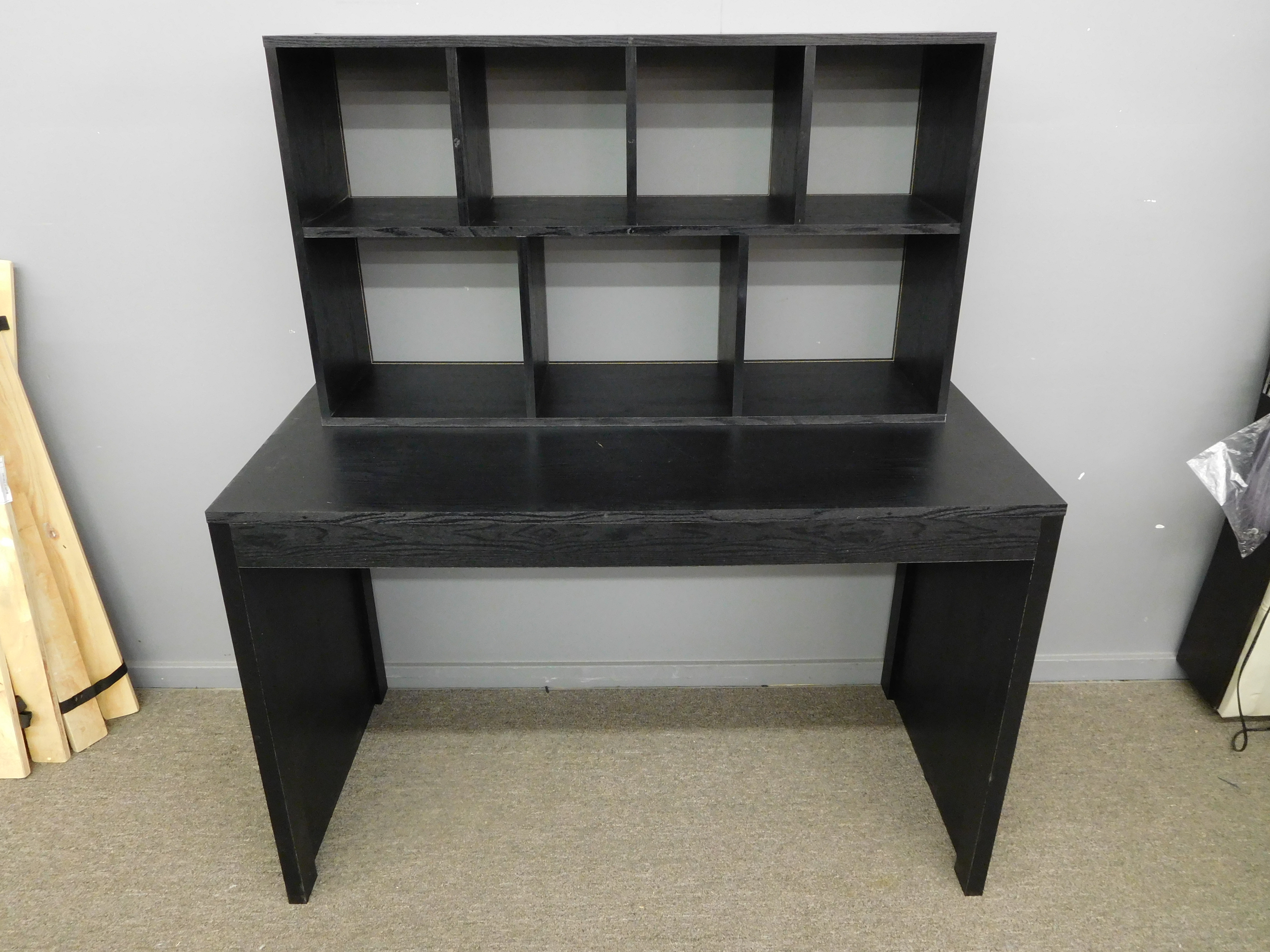 Black Desk with Hutch (2 Pieces)