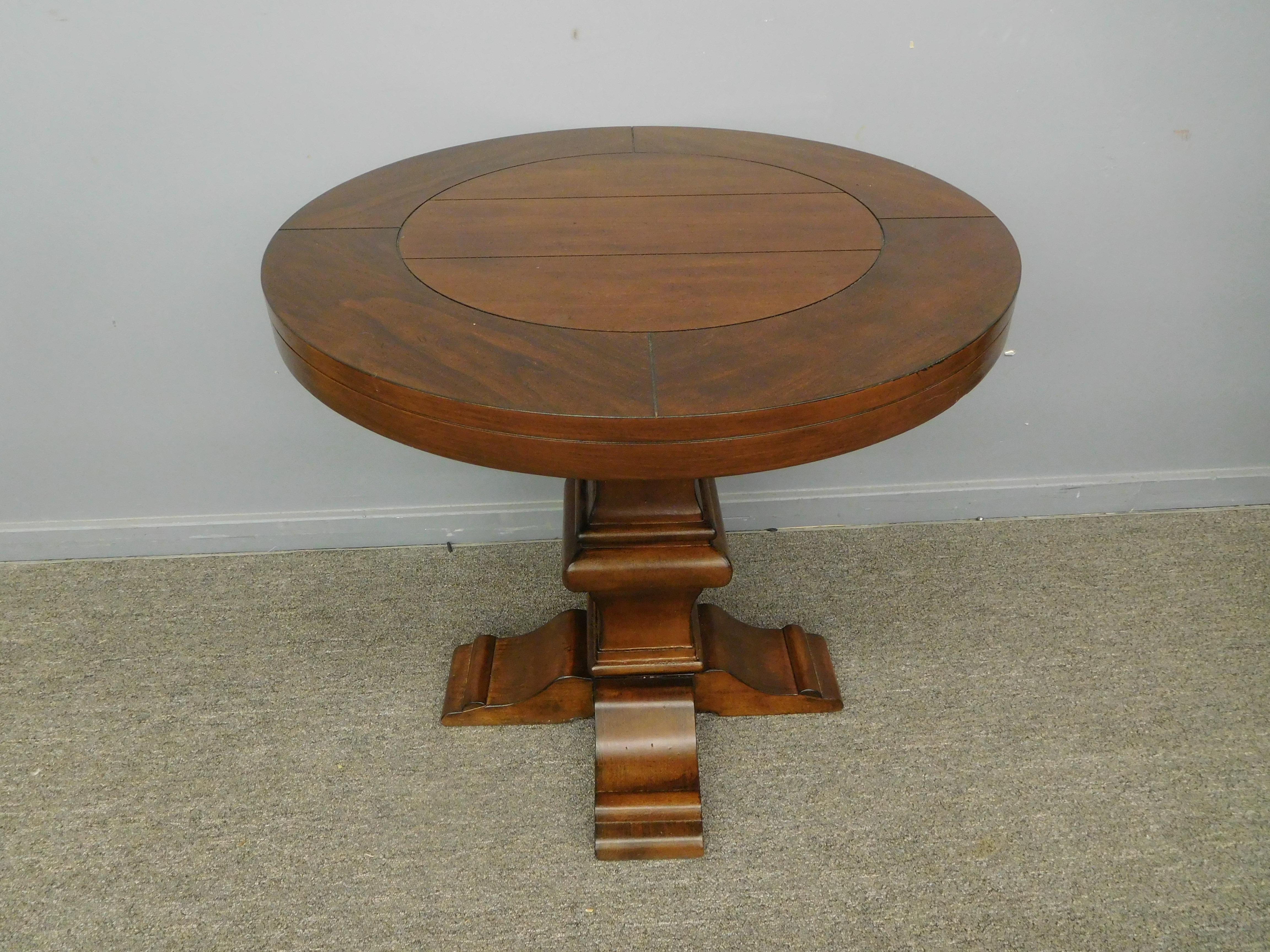 Modern Dark Wood Round Top Pedestal Table