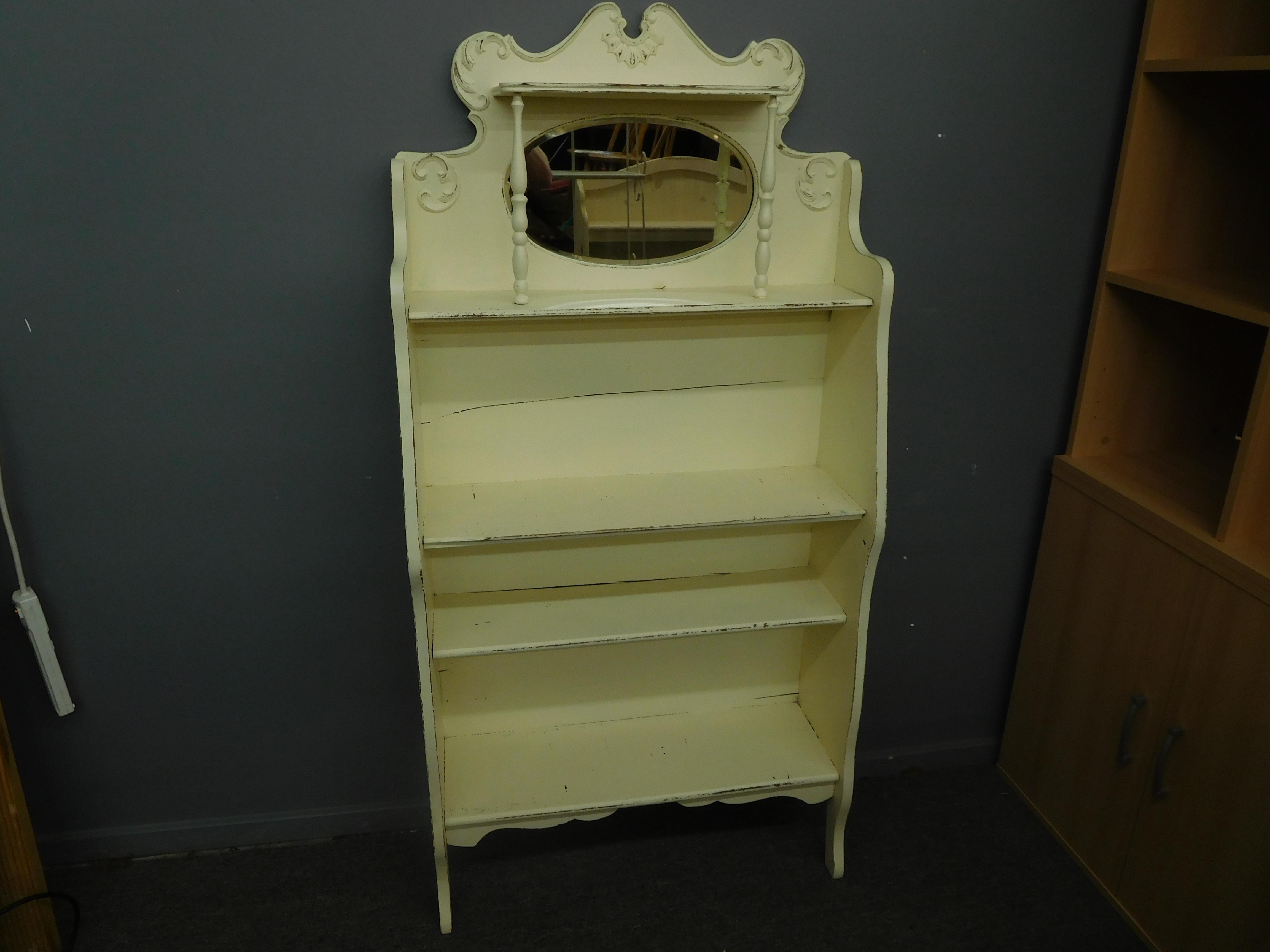 Cream-Colored Shabby Chic Vanity Hutch w/ Oval Mirror