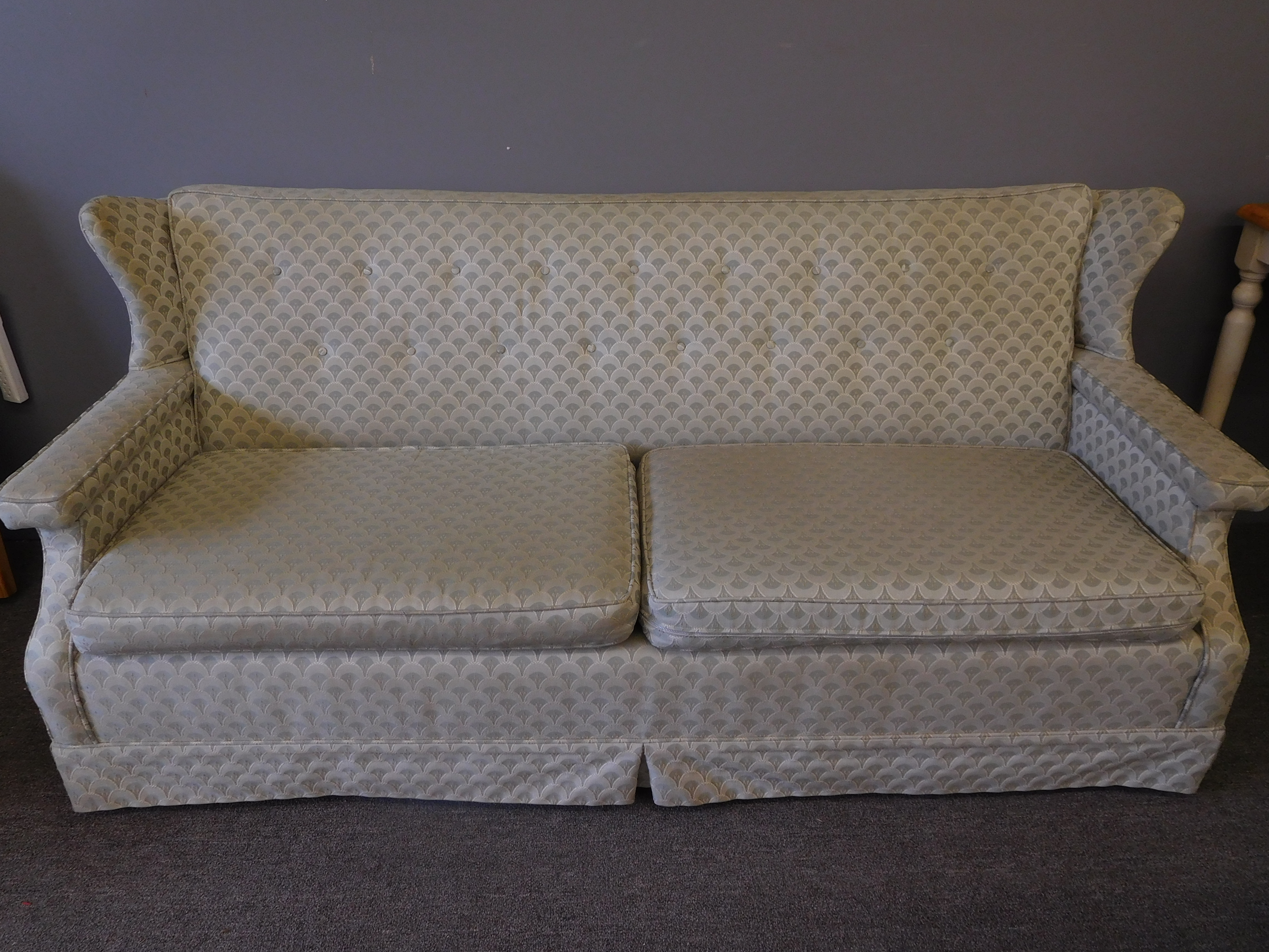 Vintage Wing Back Pale Green/Gray Sofa w/ Deco-Inspired Upholstery
