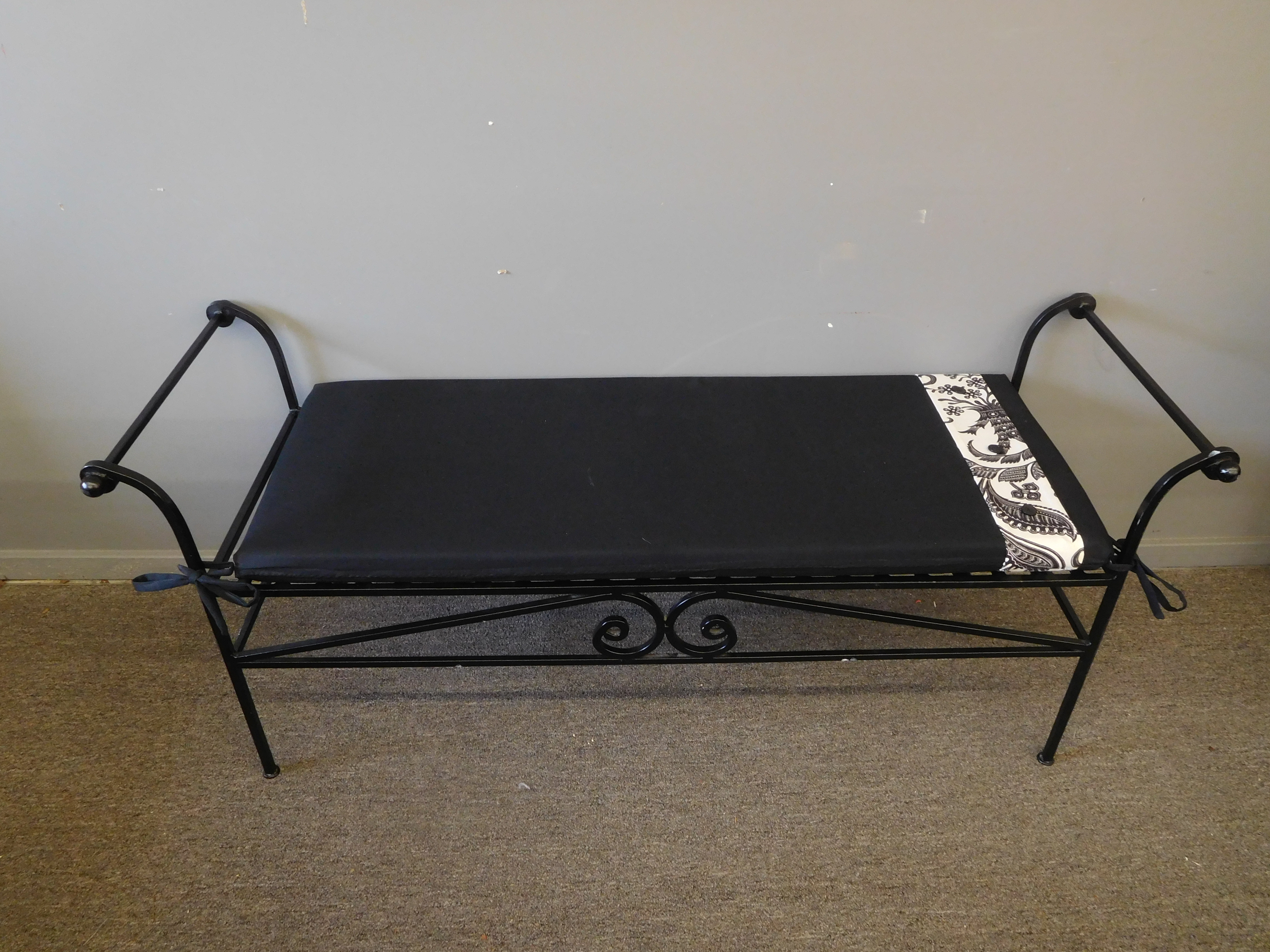 Black Metal Bench with Cushion and Paisley Accent