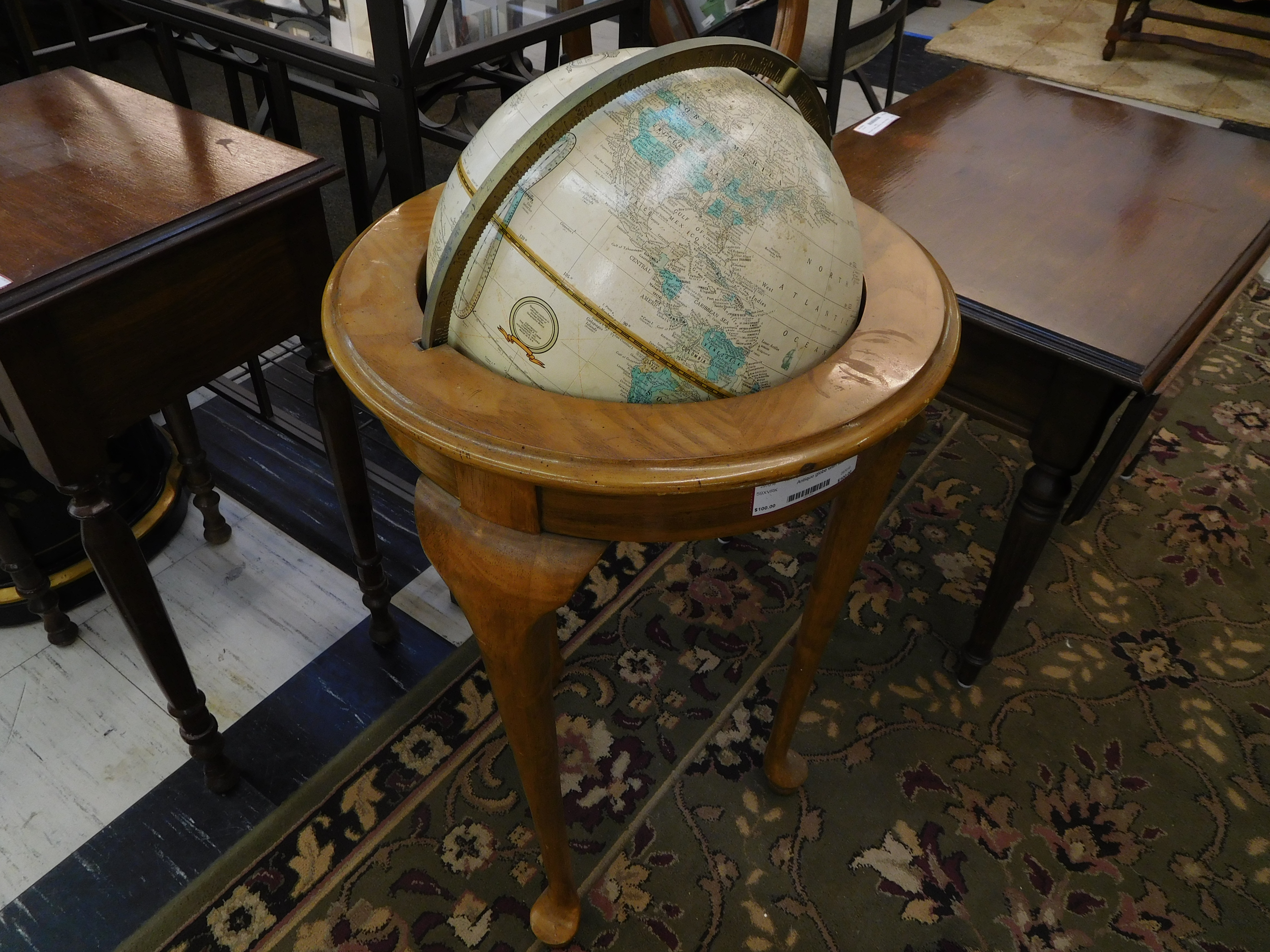 Antique Globe with Handsome Wood Stand