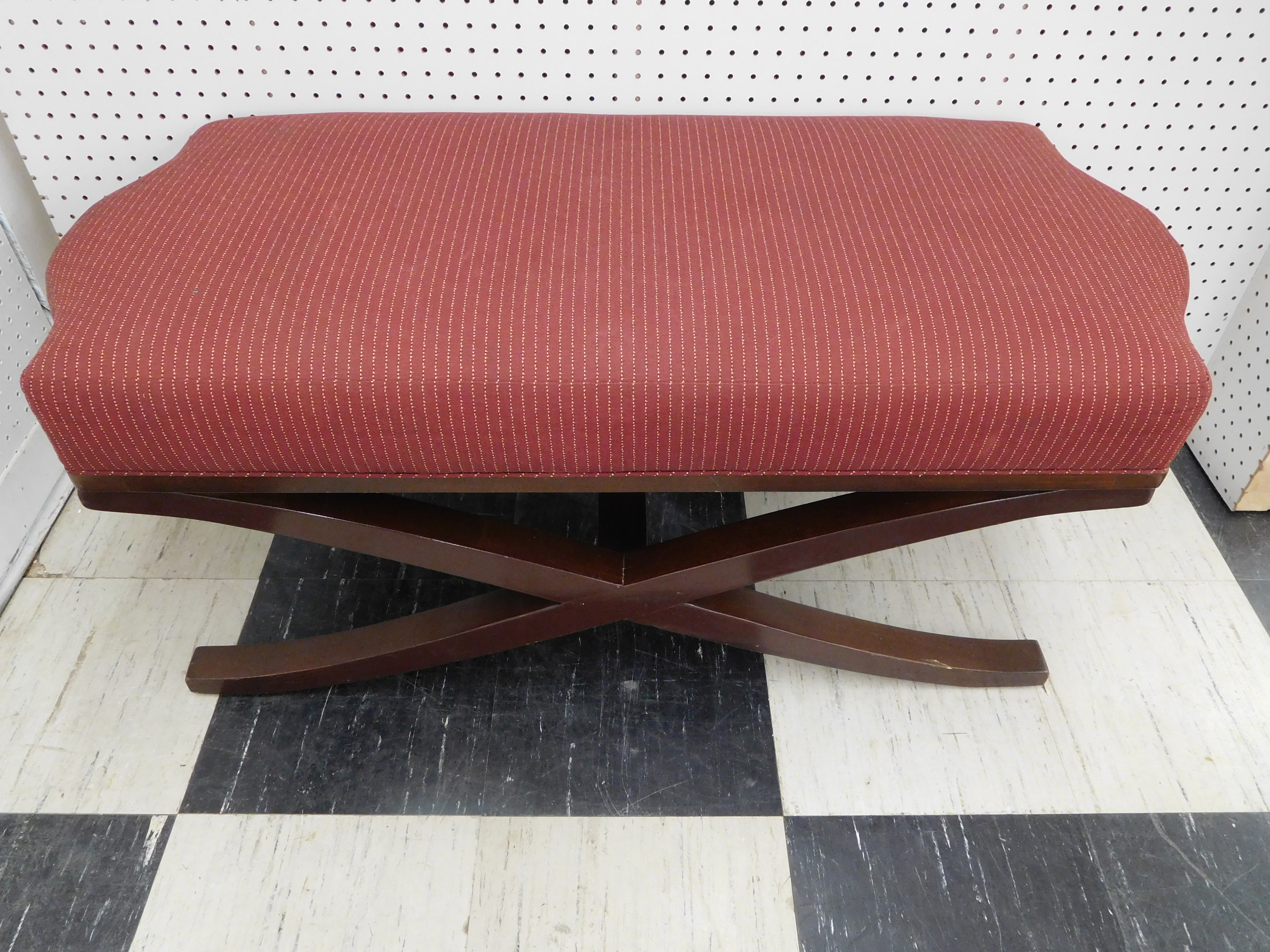 Vintage Wood Bench with Red Upholstery