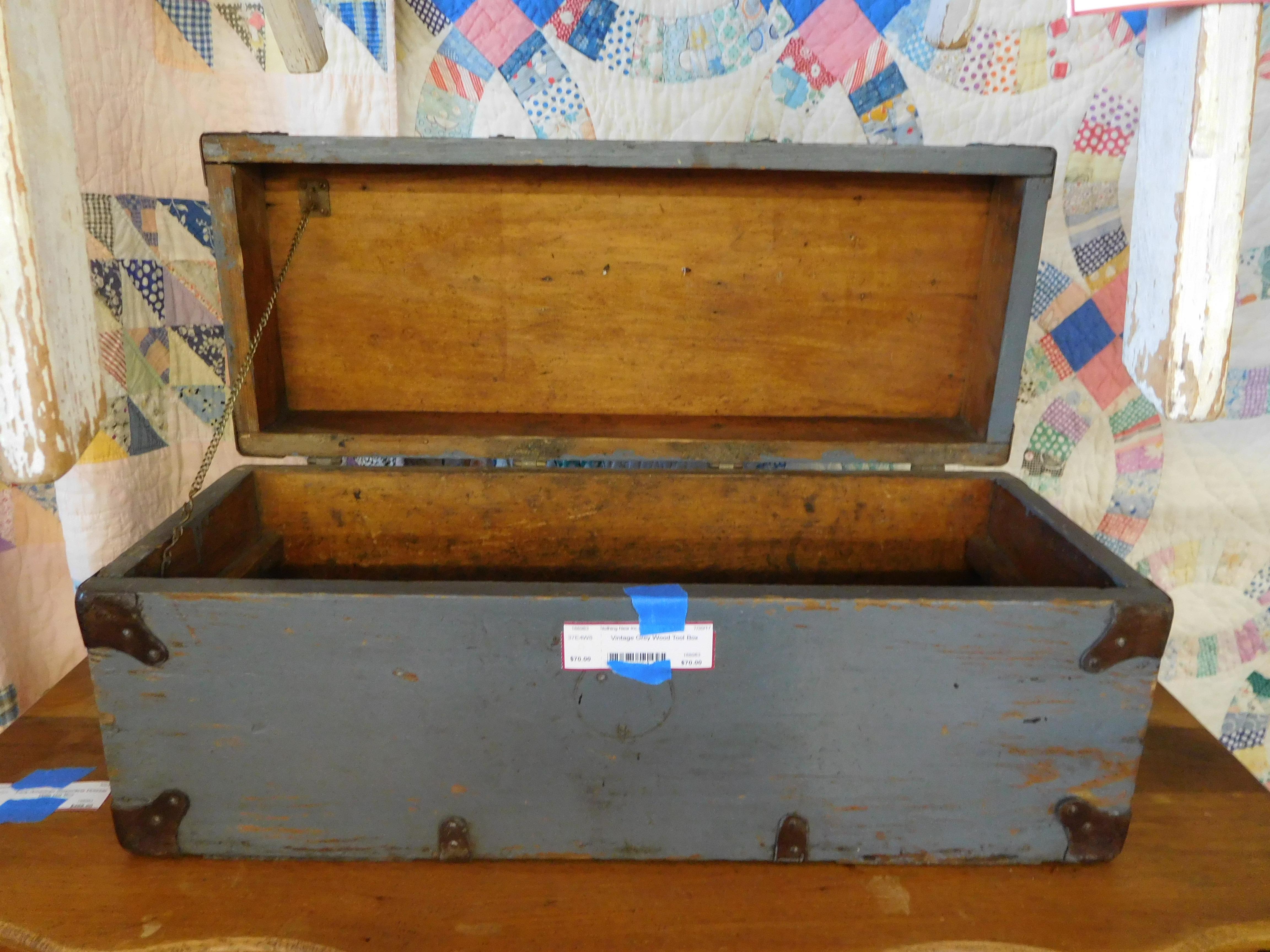 Vintage Grey Wood Tool Box