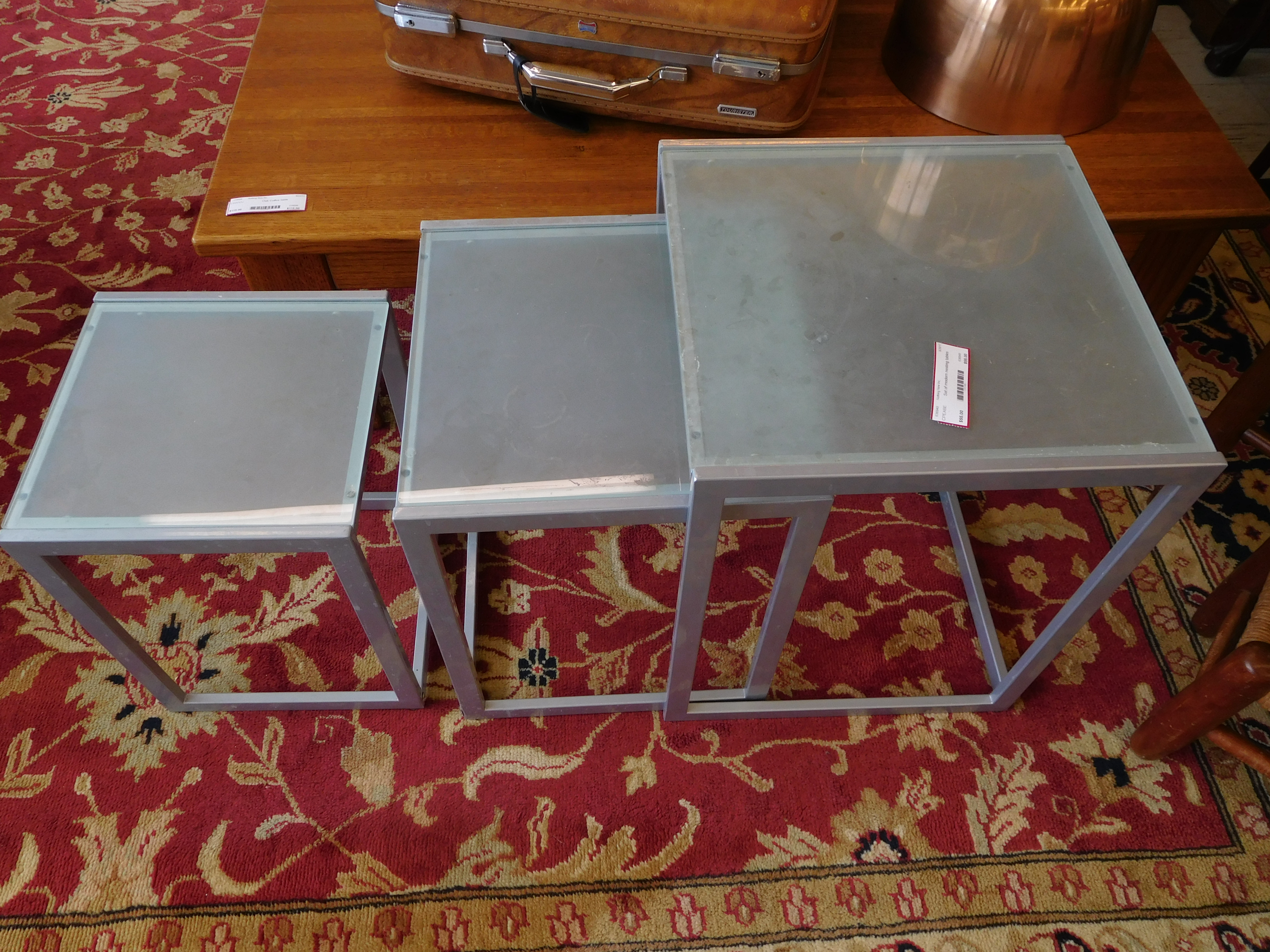 Set of Modern Chrome and Glass Nesting Tables