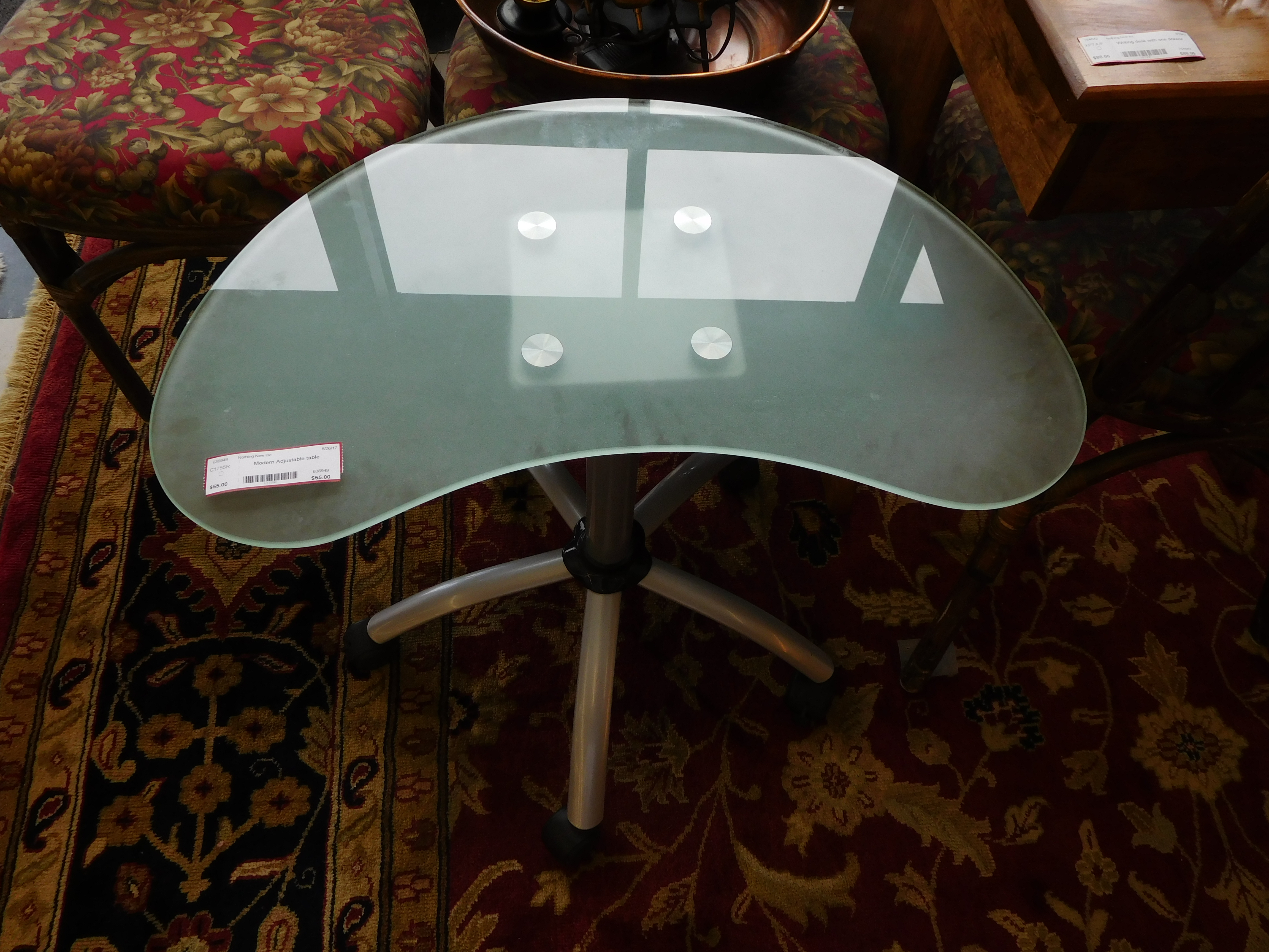 Modern Kidney-Shaped Glass Top Table with Adjustable Height