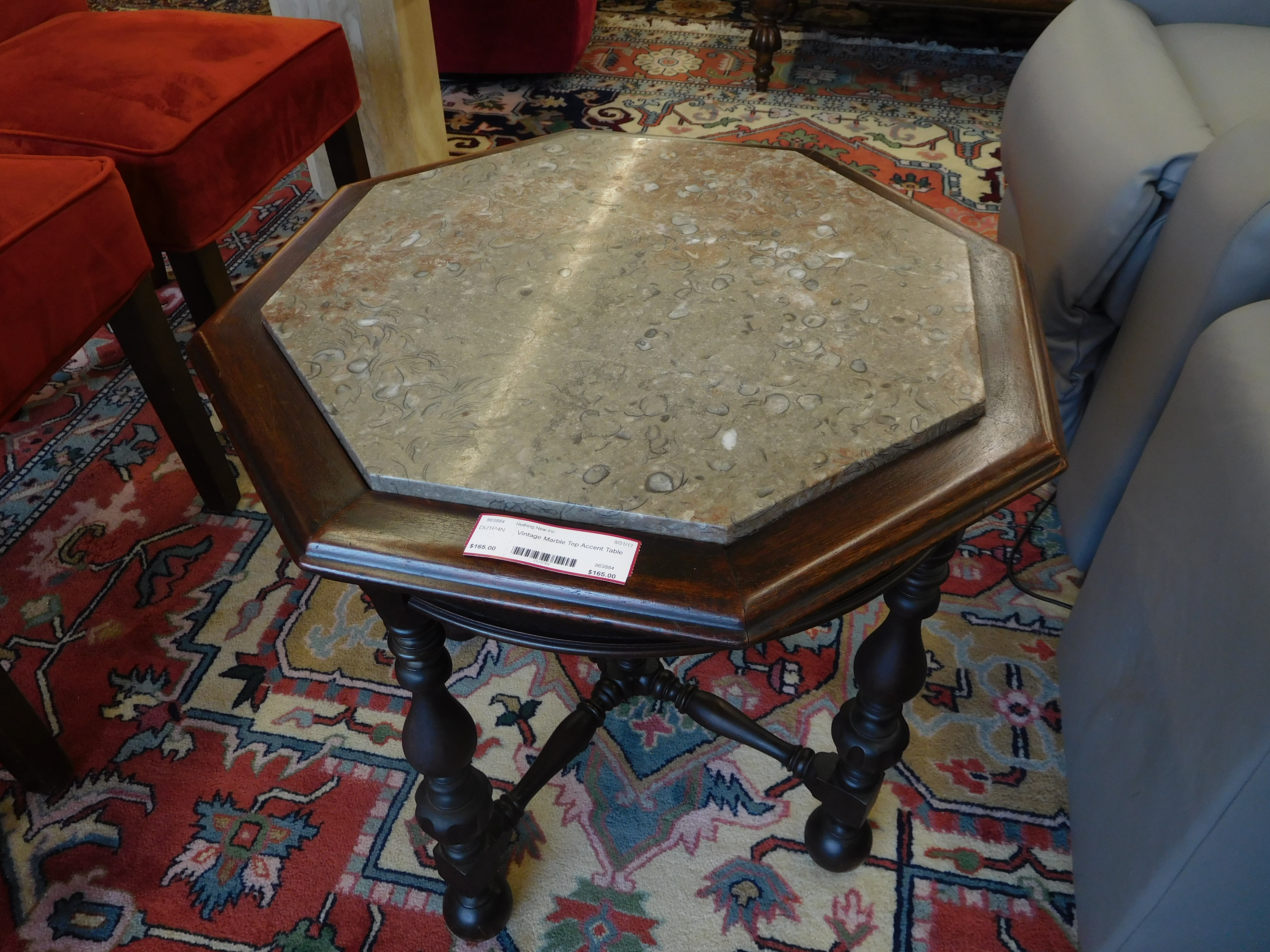 Vintage Accent Table with Hexagonal Marble Top