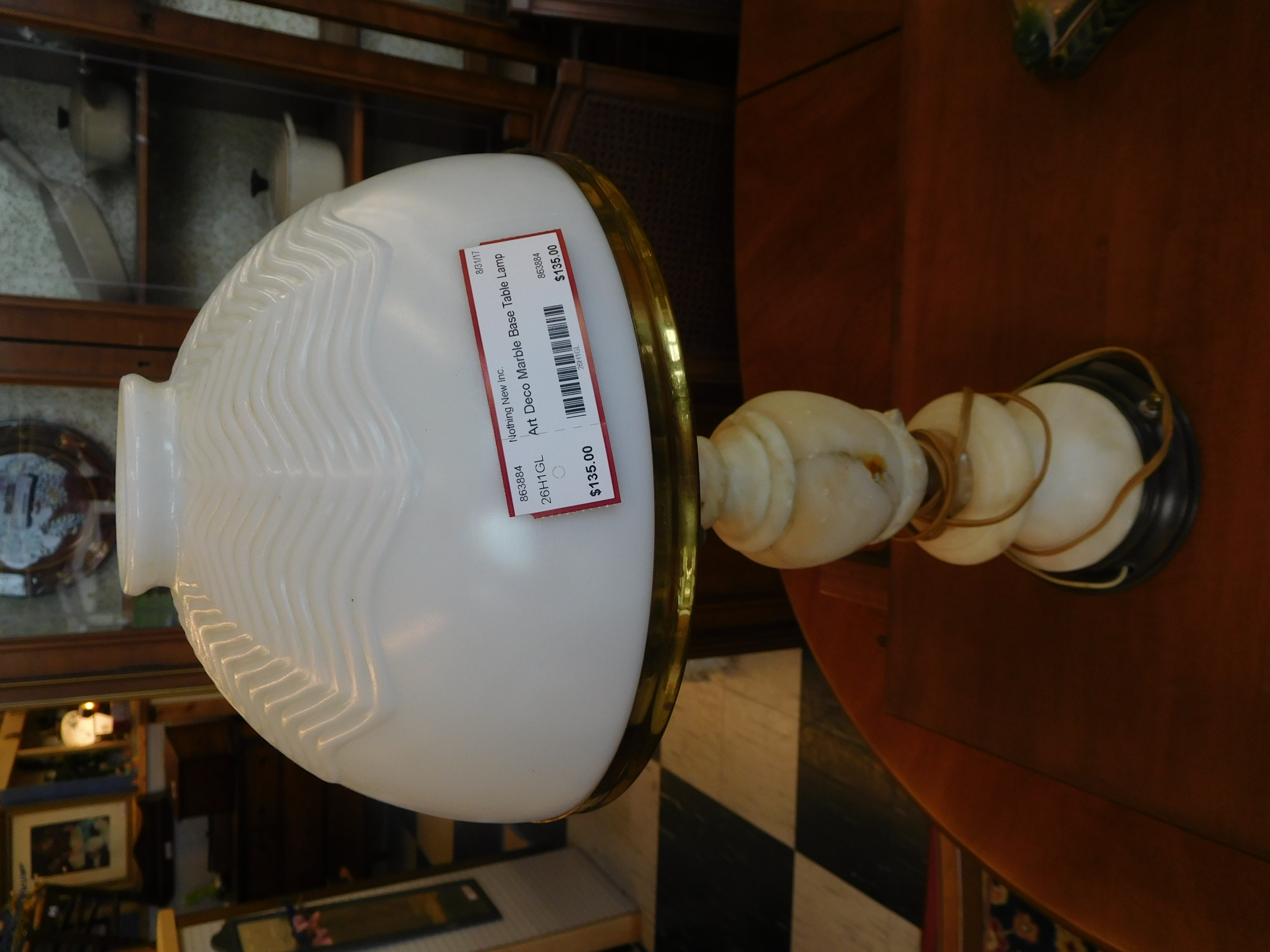 Art Deco Embossed Table Lamp with Marble Base