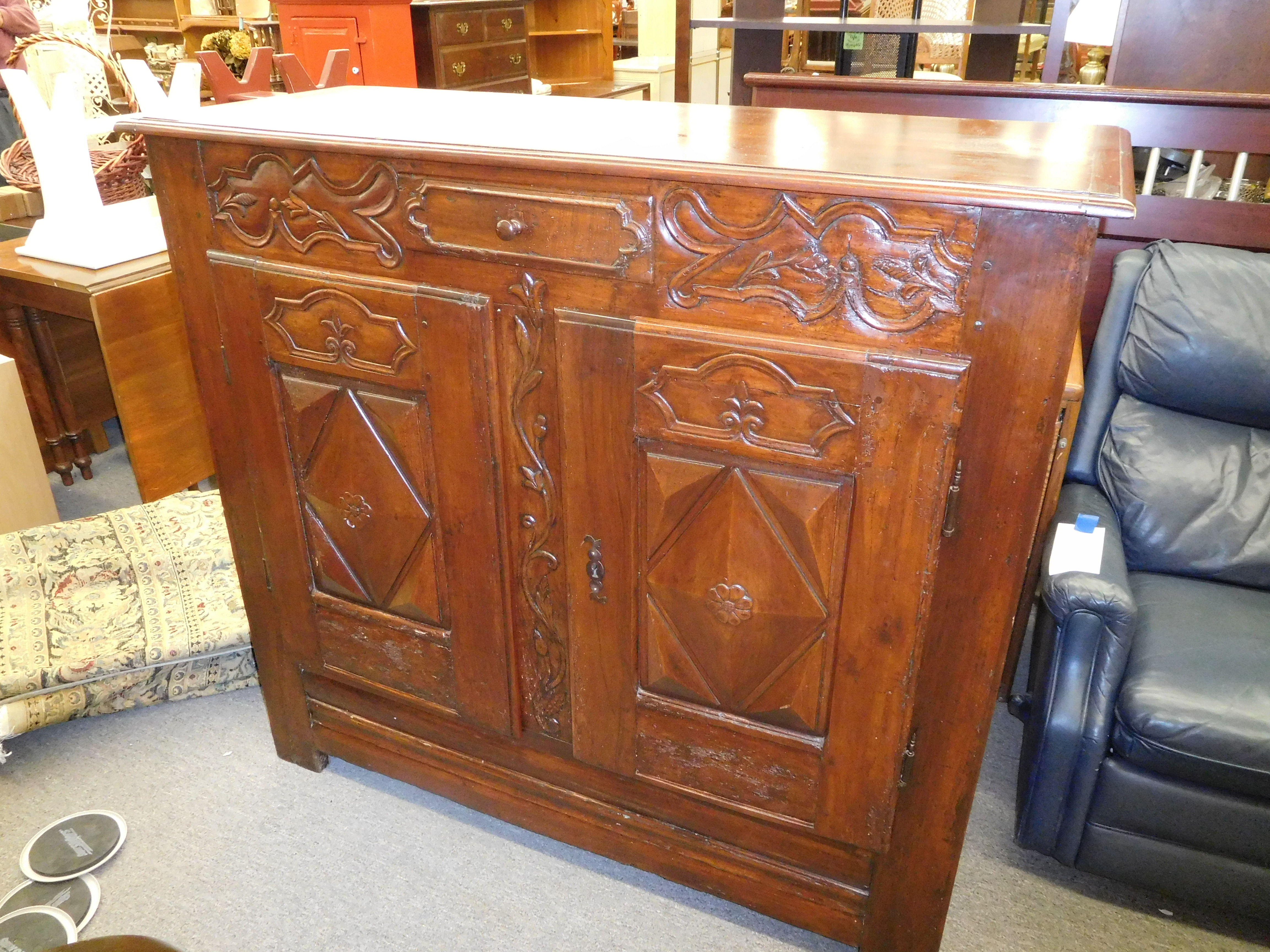 Rare Antique Wormy Chestnut French Cabinet