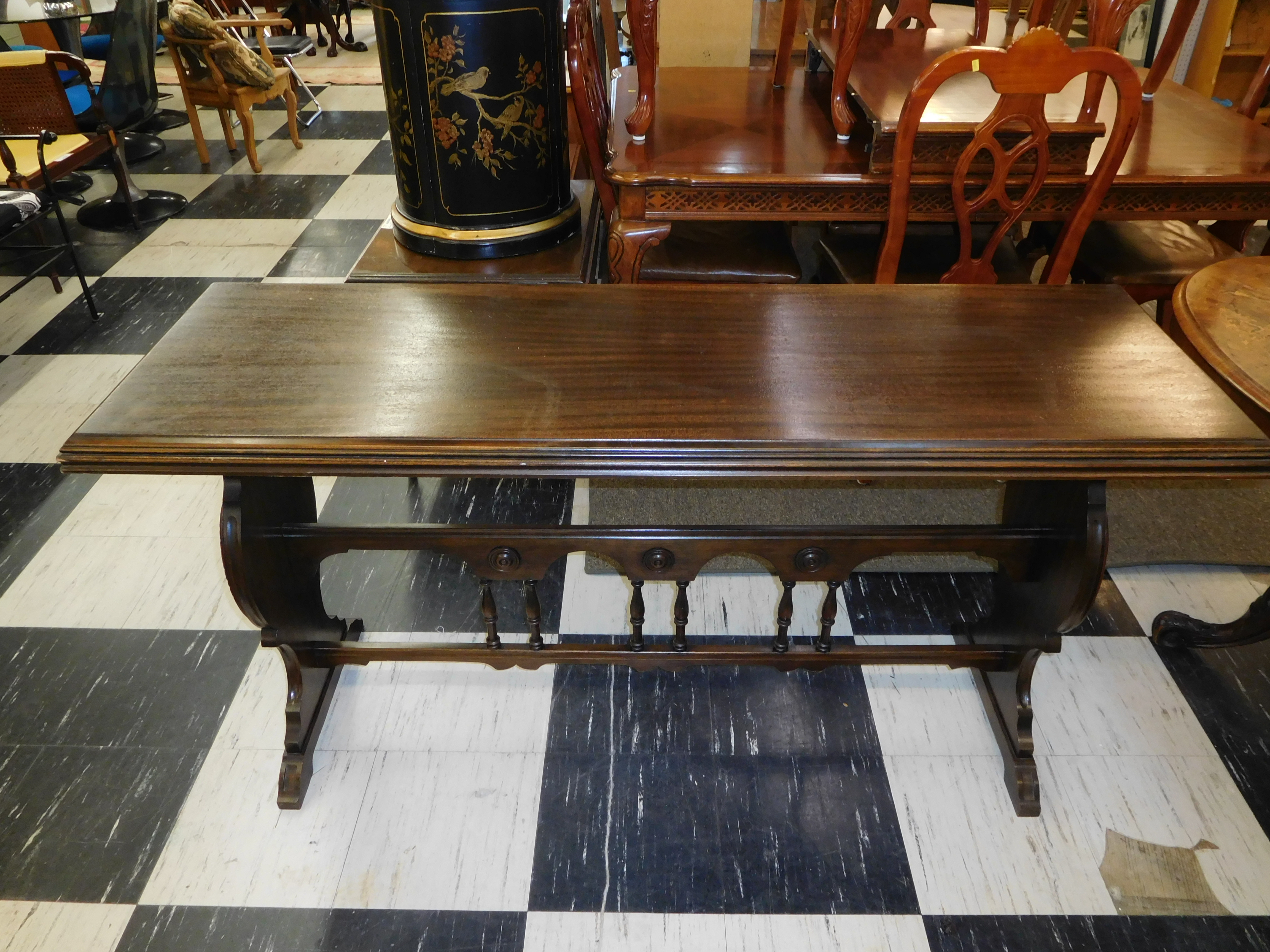 Antique French Mahogany Serving Table w/ Carved Trestle Base