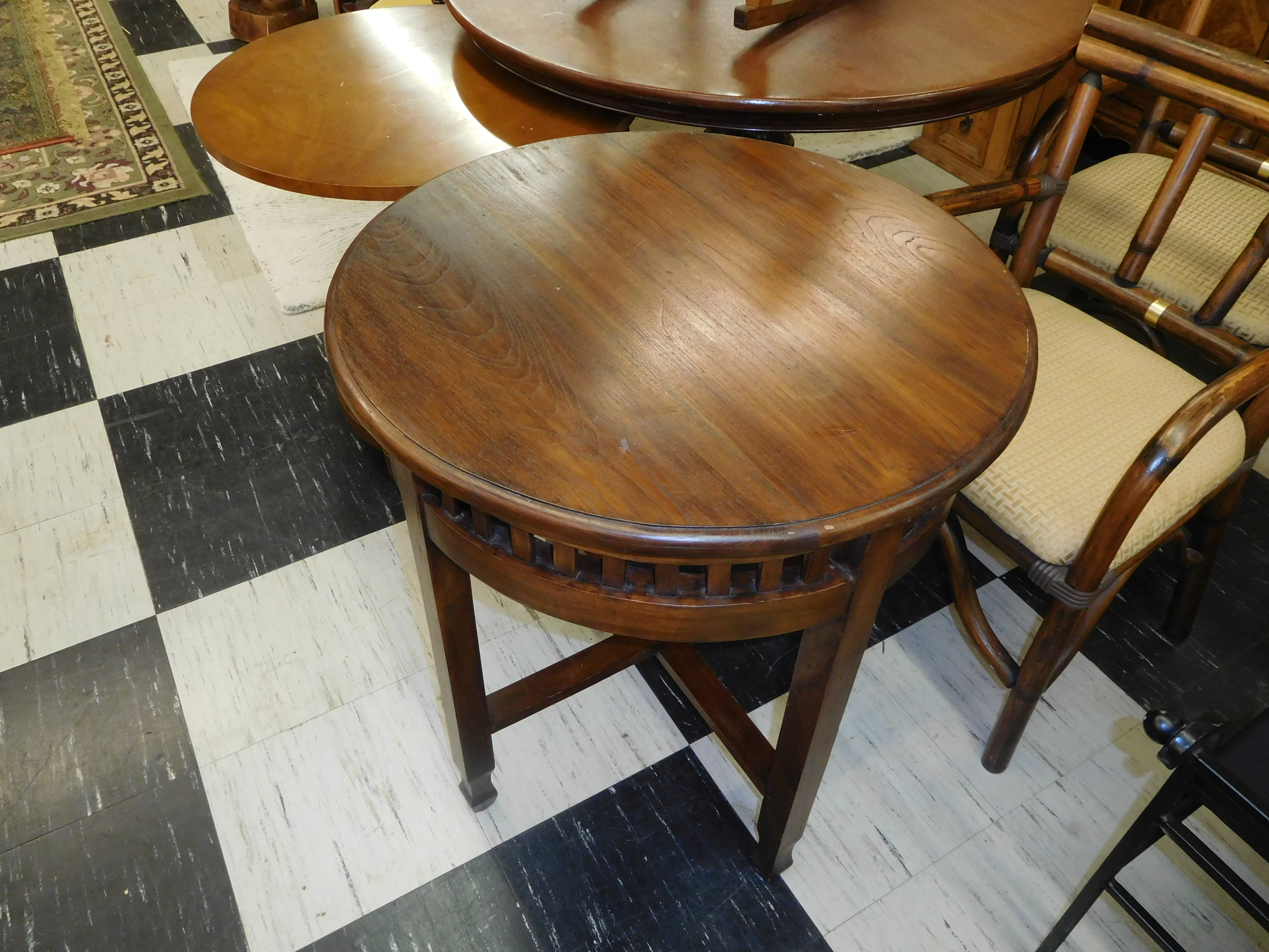 Indonesian Teak Round Top Accent Table