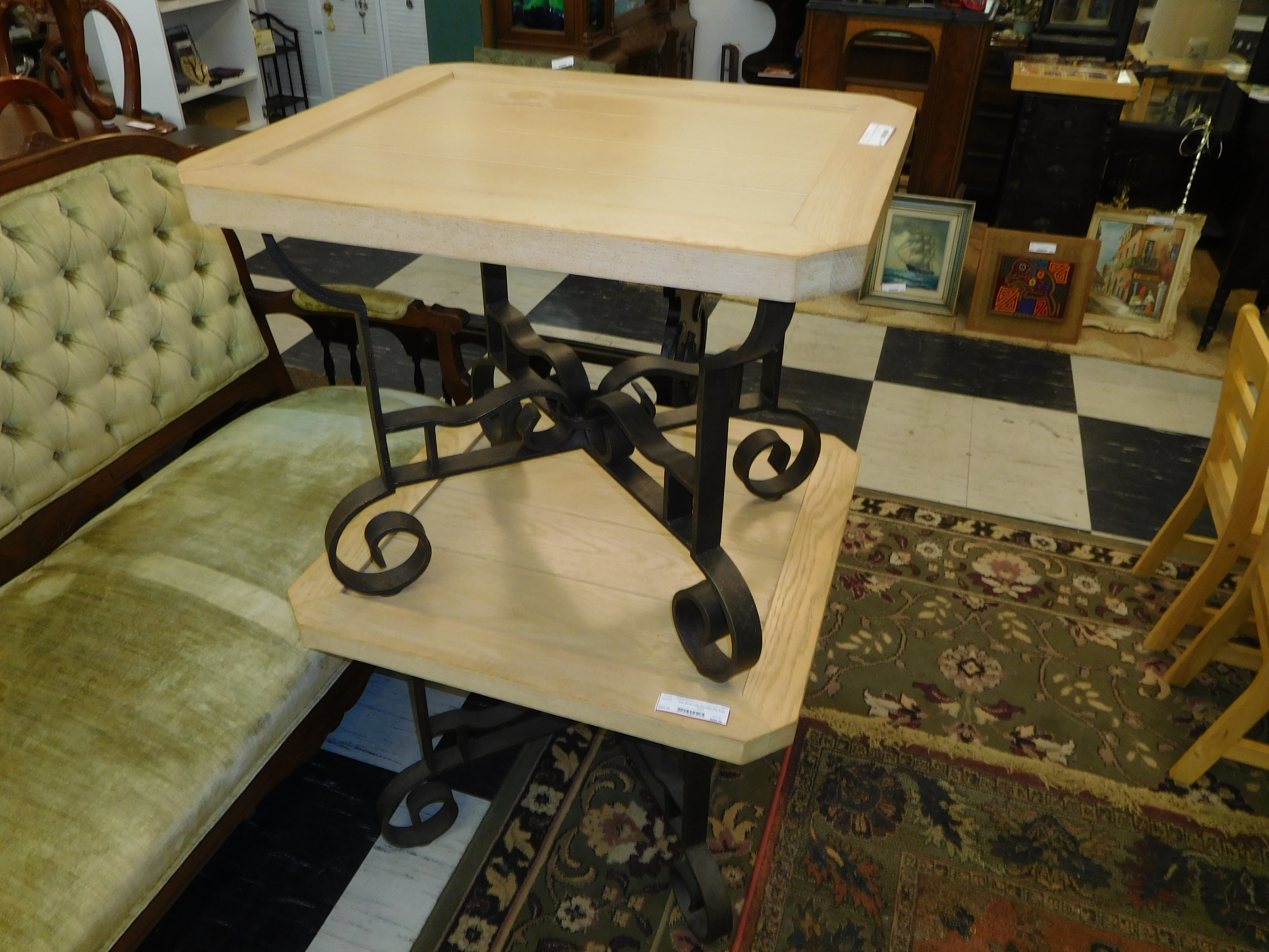 End Table with Curved Iron Base and Flat-Cornered Wood Top