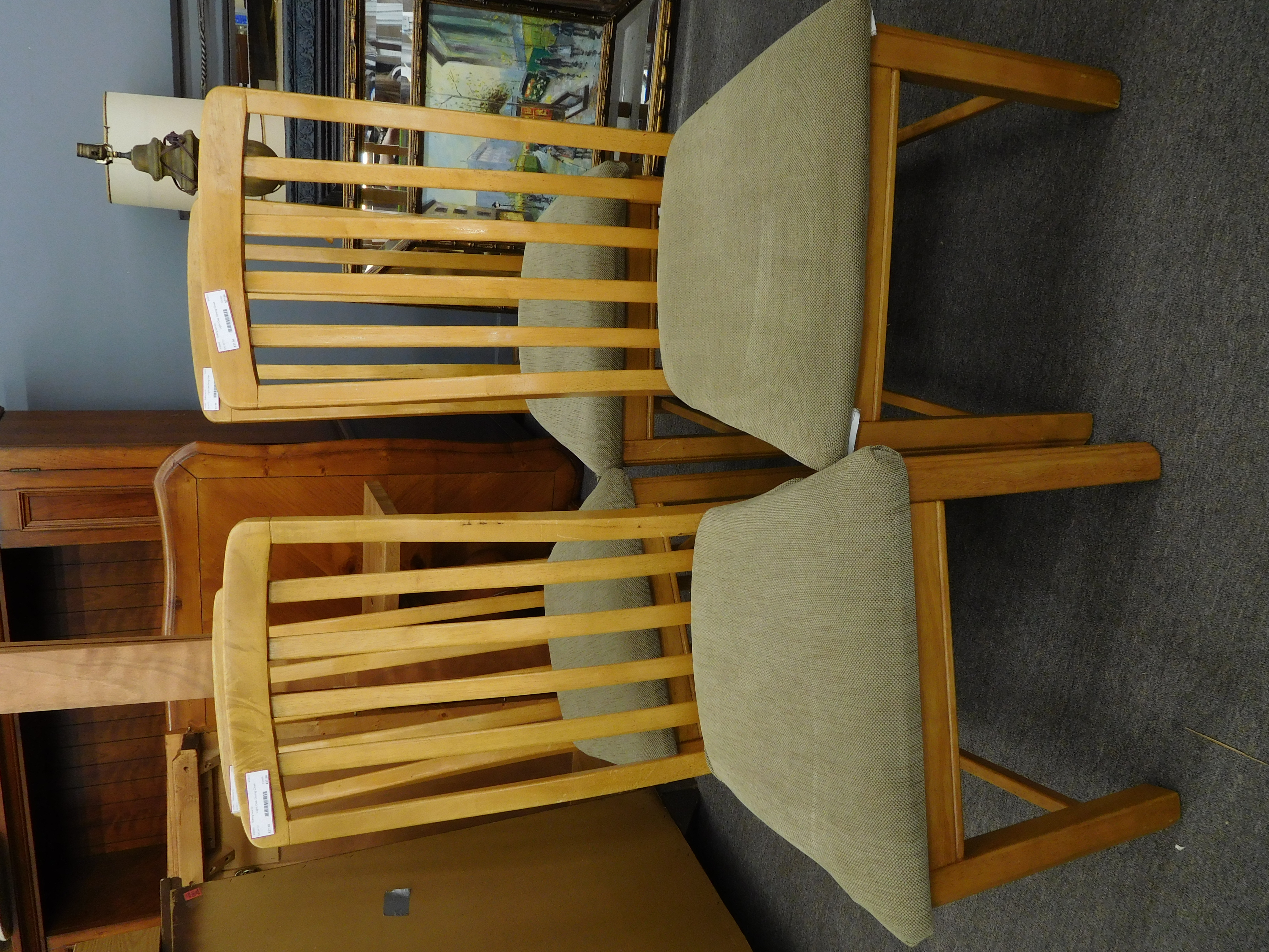 Honey Toned Slat Back Dining Chair w/ Upholstered Seat