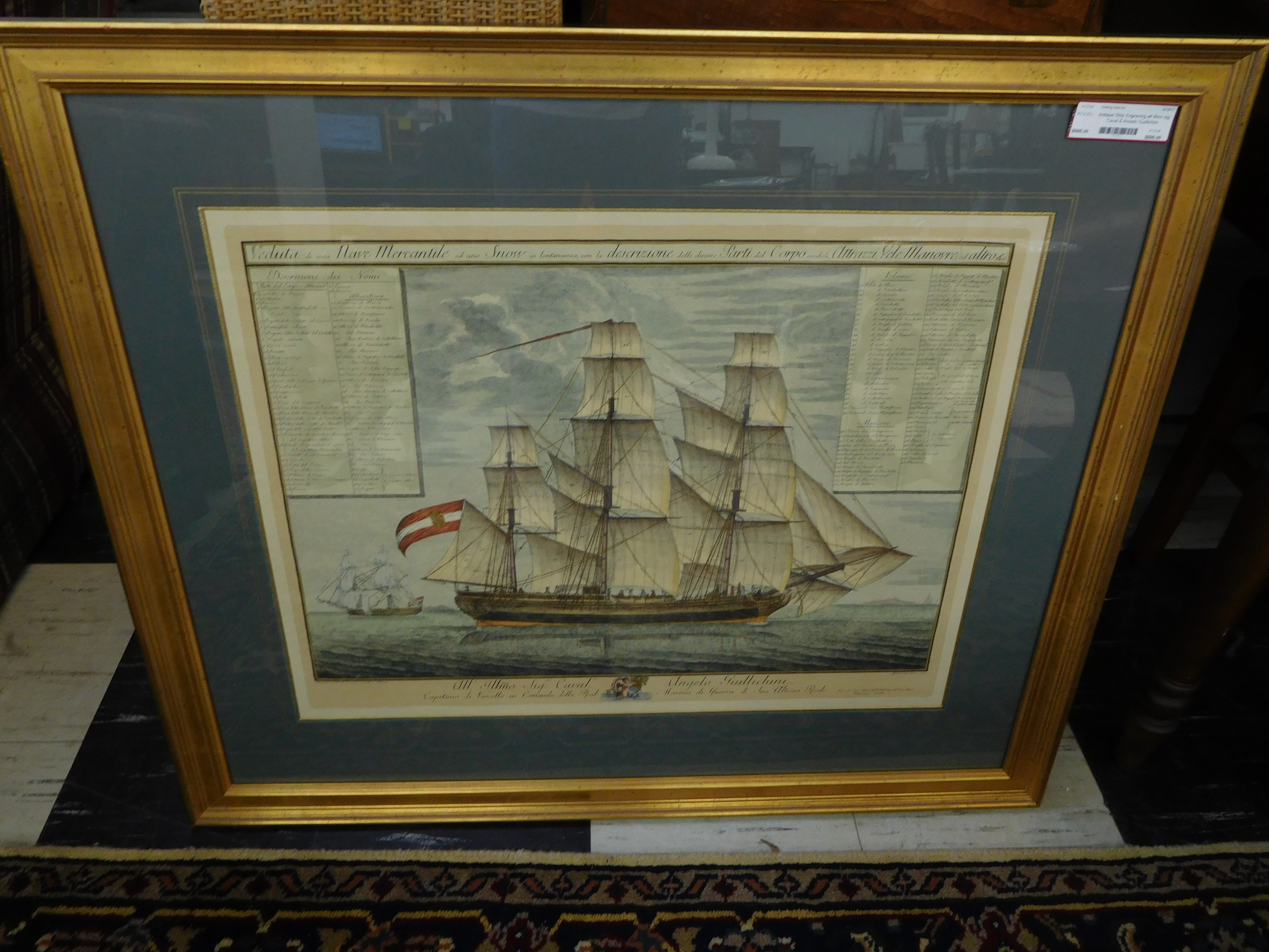 18th Century Navy War Ship Engraving from Copper Plate