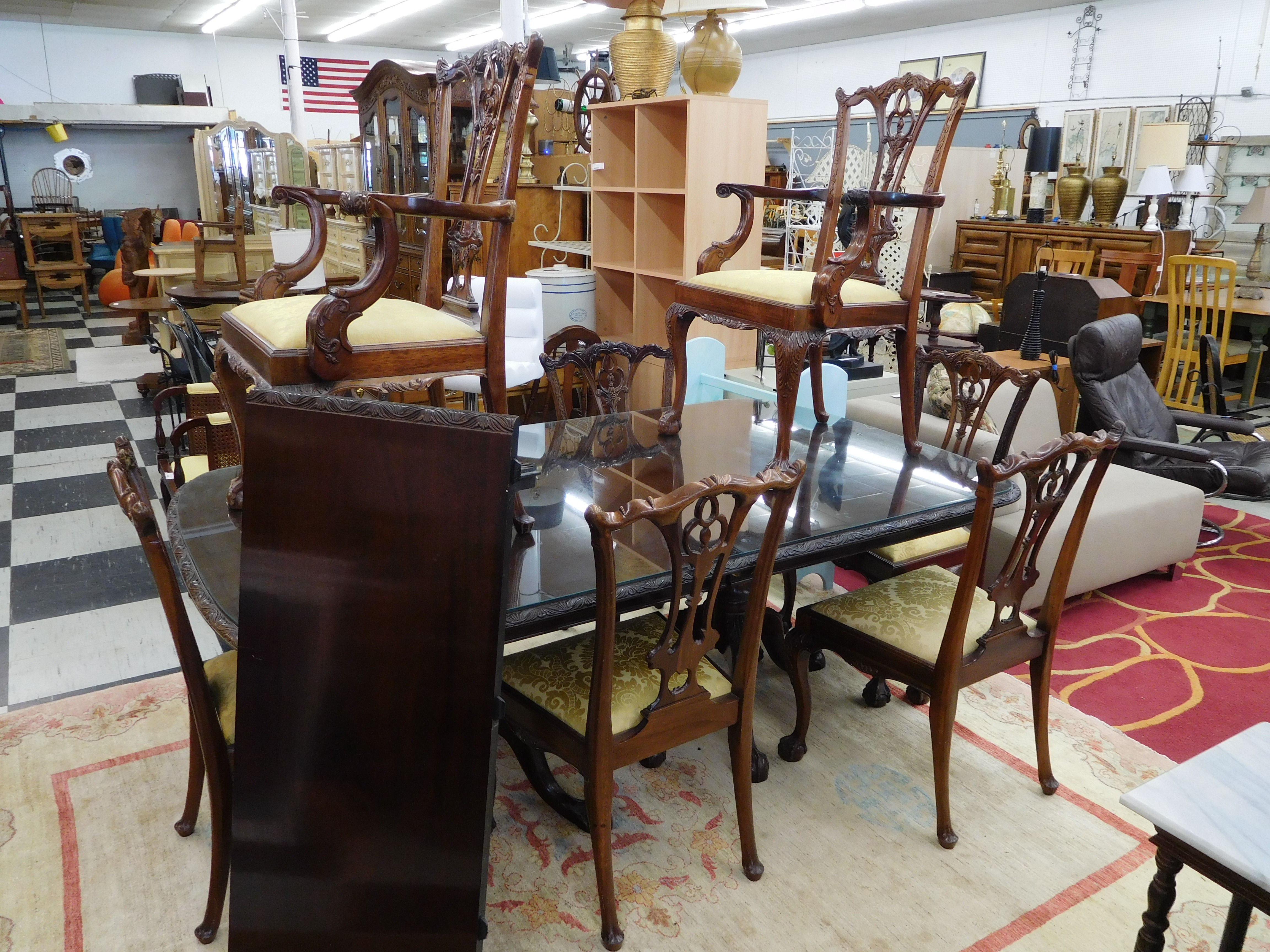 Antique Dining Table and Upholstered Chairs by Williams Antiques