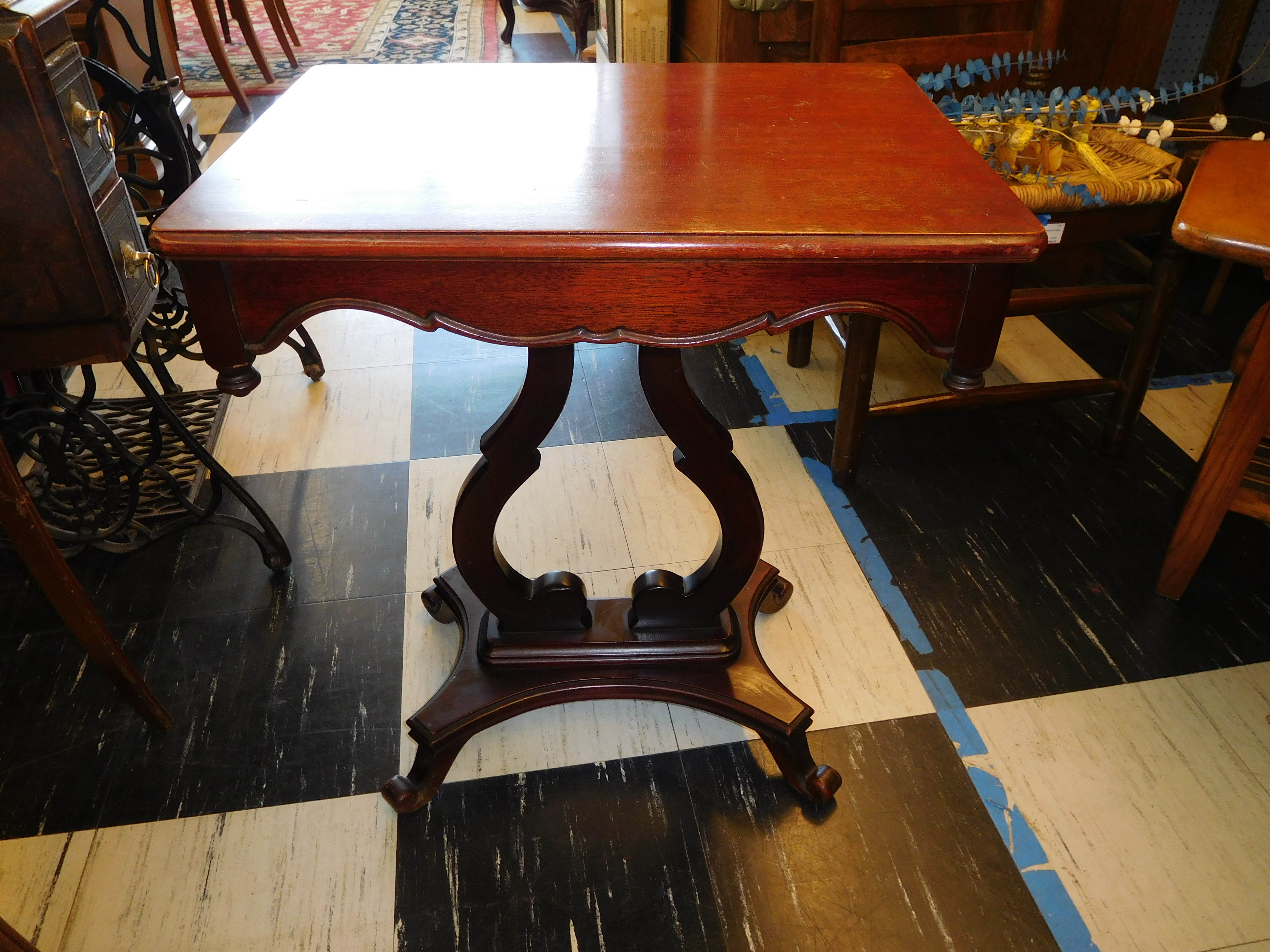 Mahogany End Table w/ Curved Pedestal and Base (2 avail.)