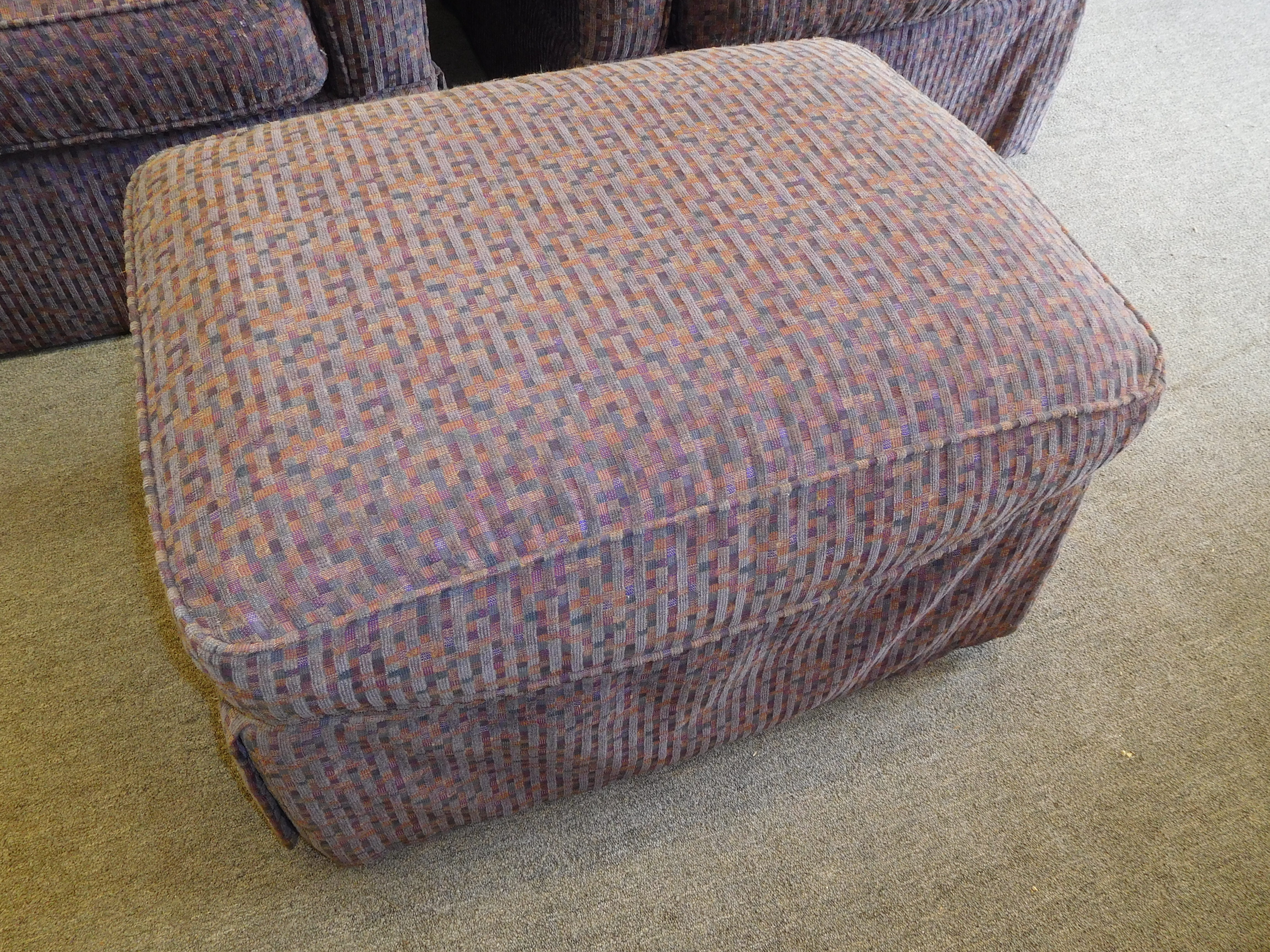 Lavender/Mauve Patterned Ottoman By Rowe