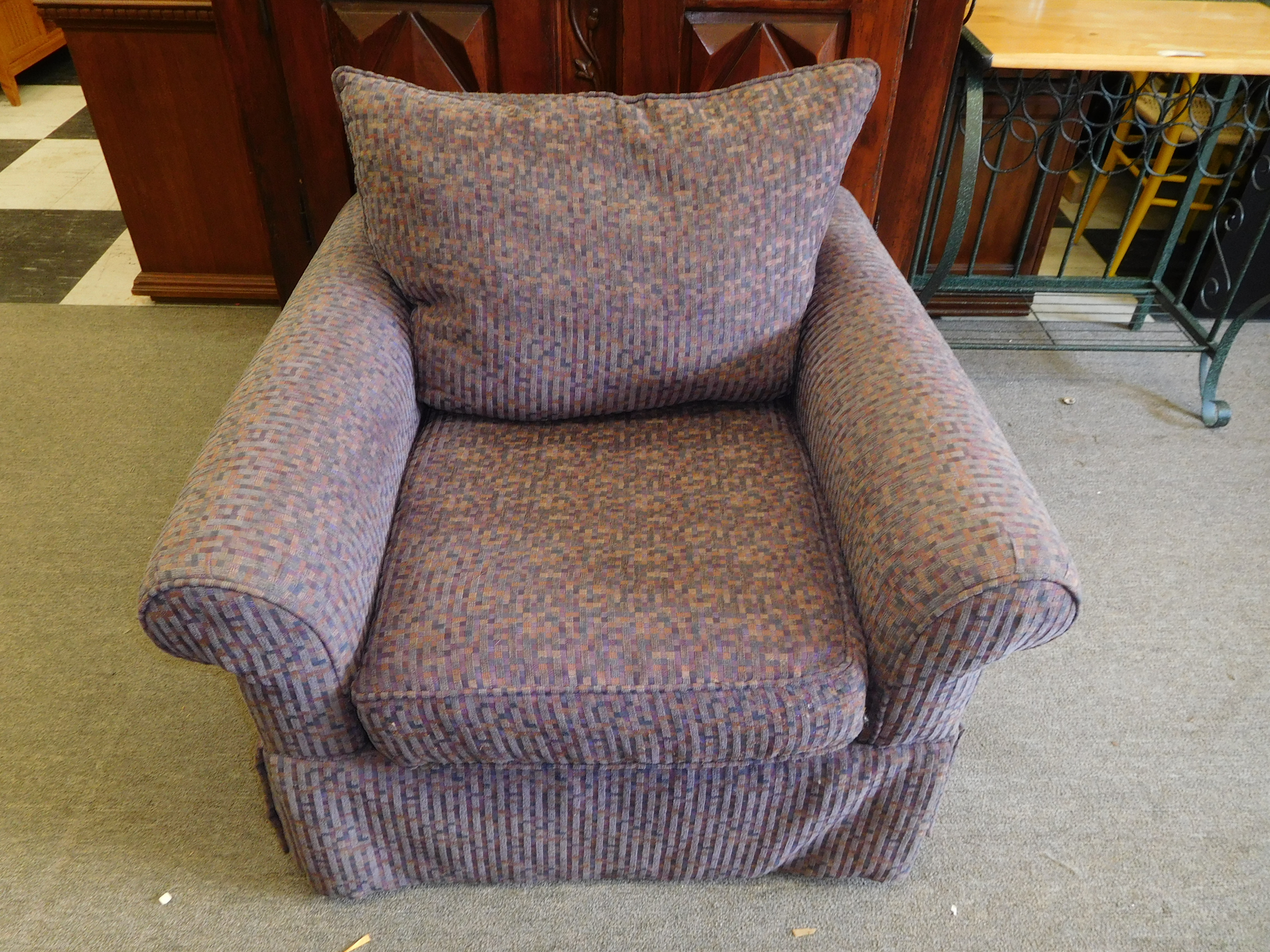 Purple Patterned Club Chair By Rowe