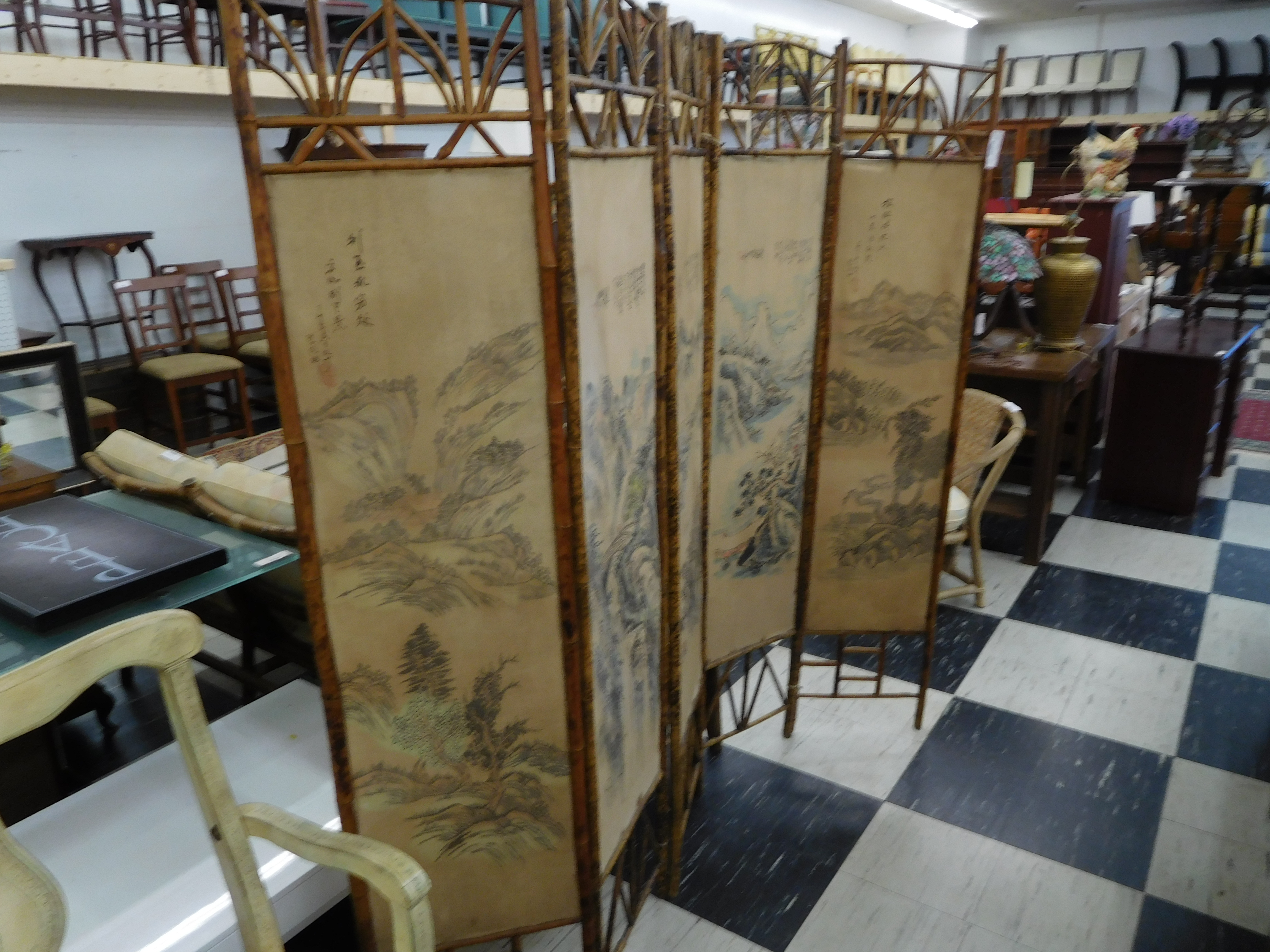 Chinese Rattan Room Divider with Nature Scenes