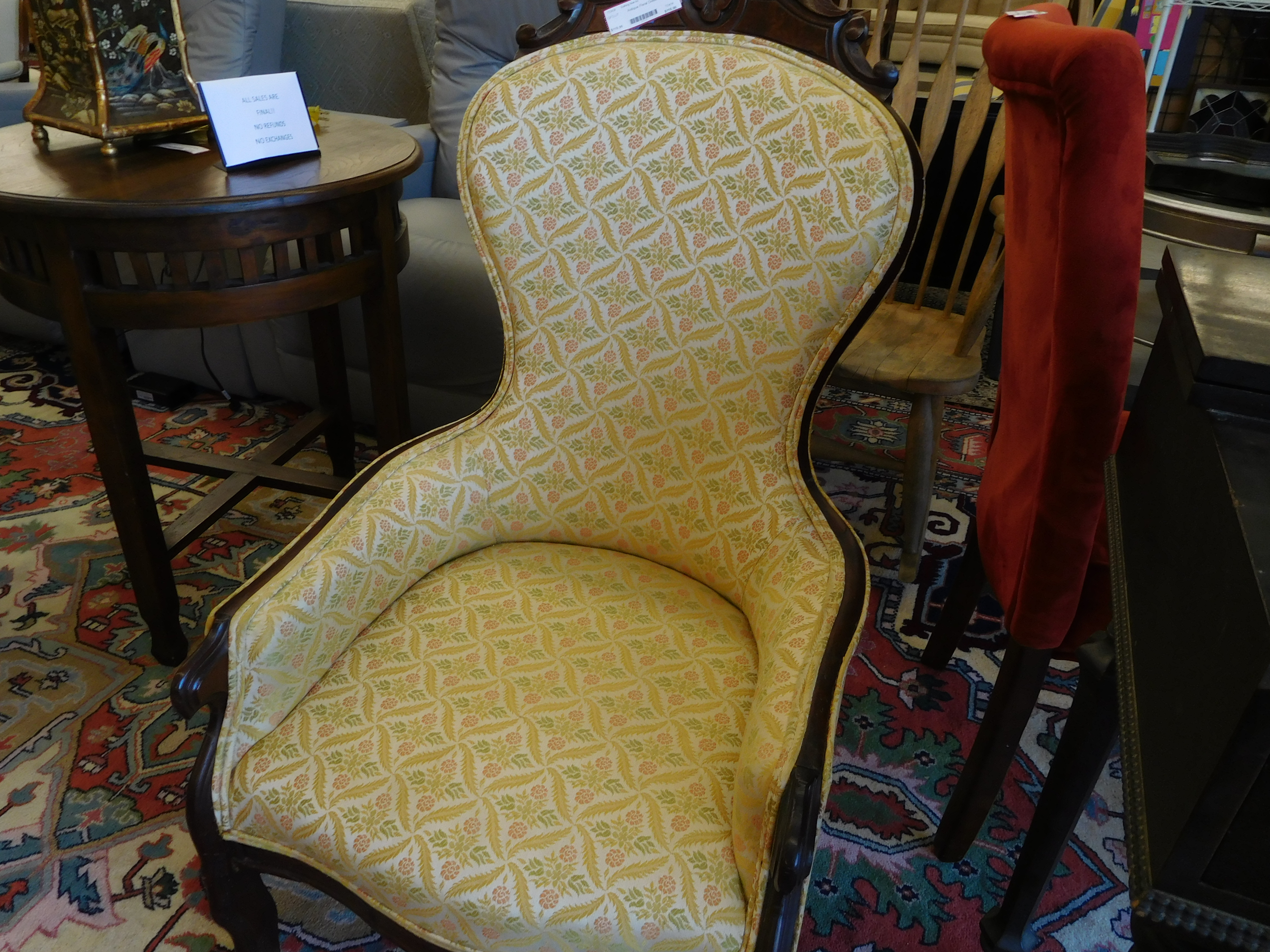 Antique Chair with Yellow Floral Upholstery