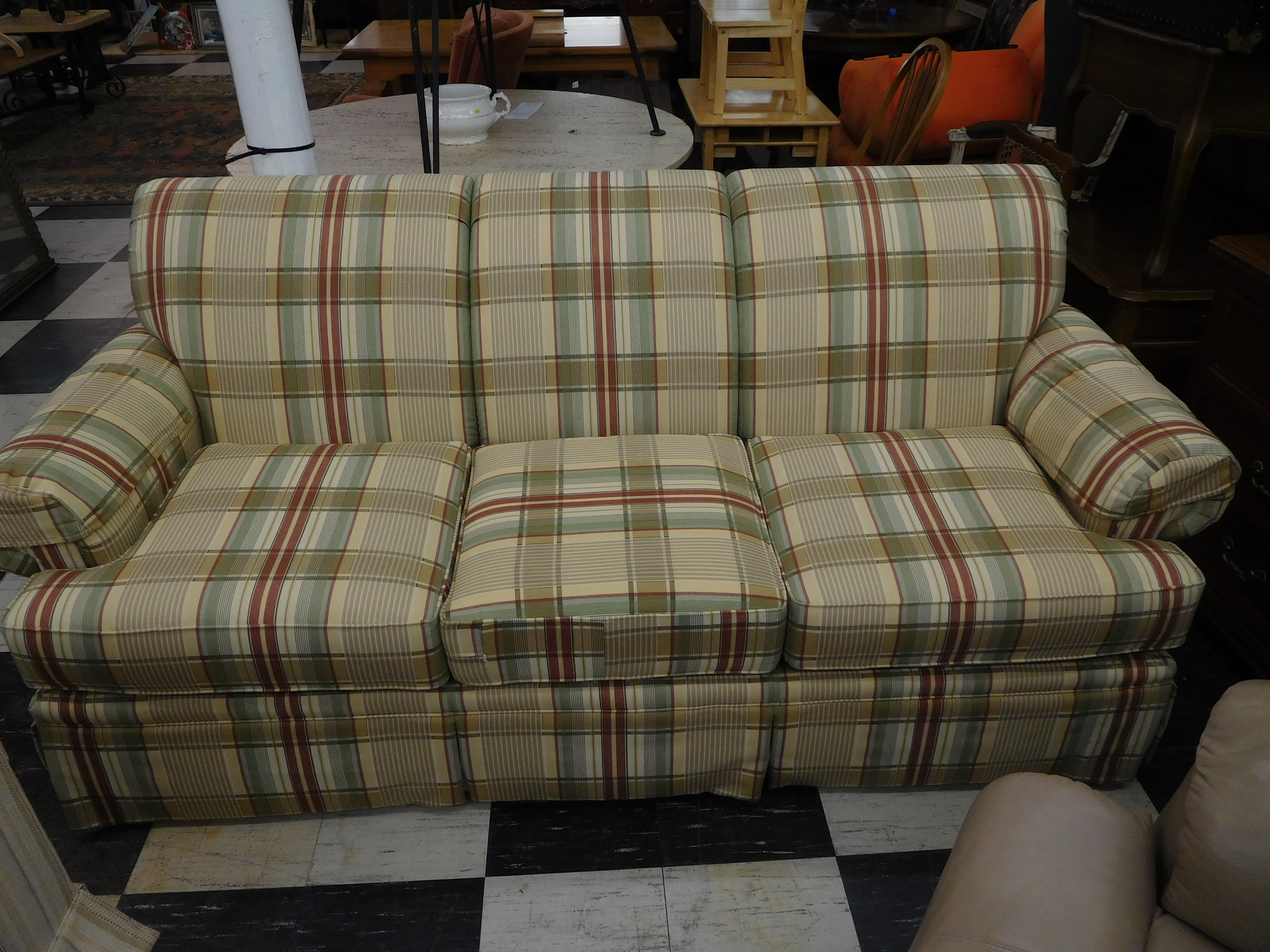 Earth Tone Plaid Upholstered Sofa by Marcus Clayton