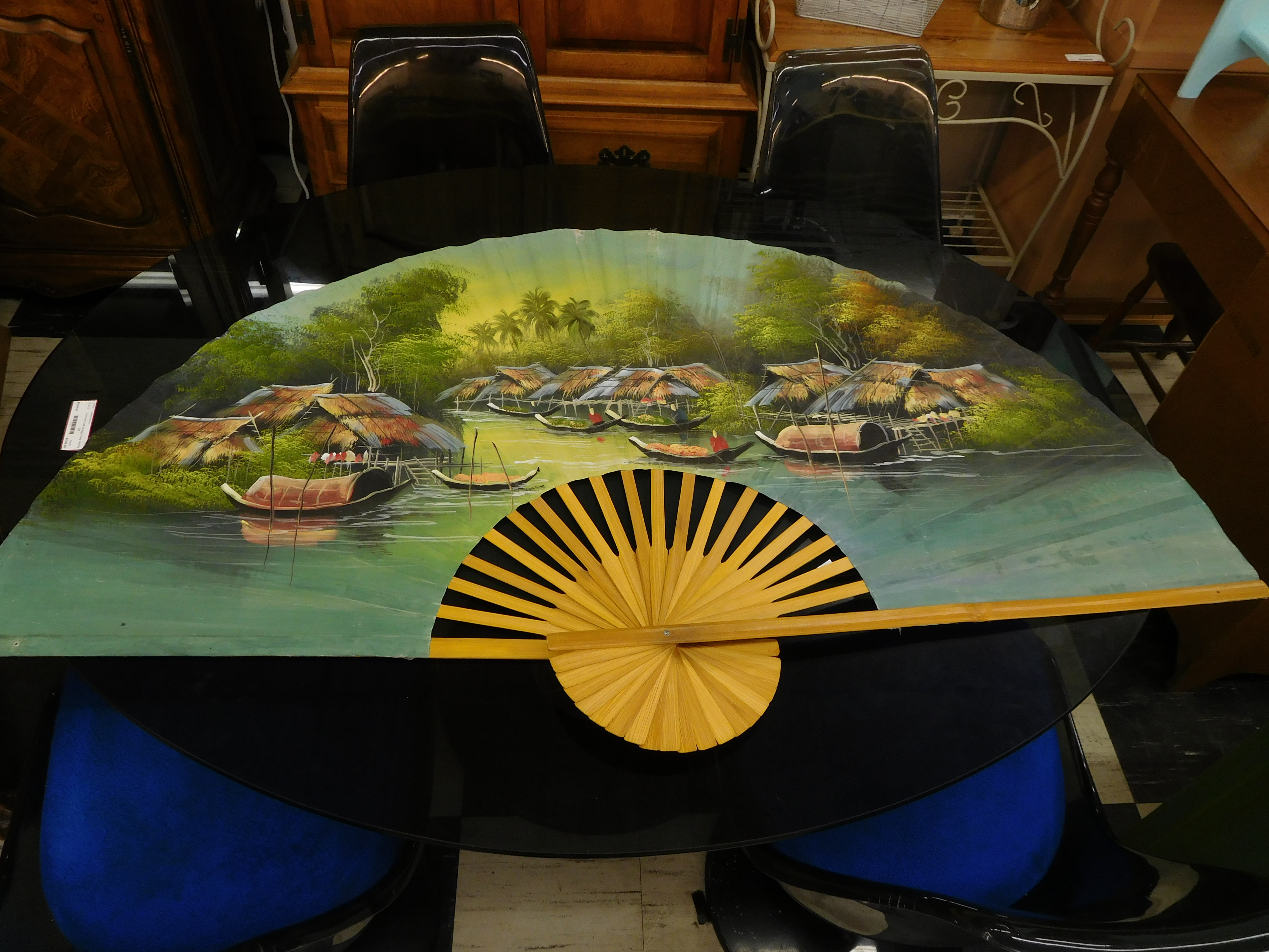 Extra Large Colorful Painted Thai Fan Featuring Coastal Village