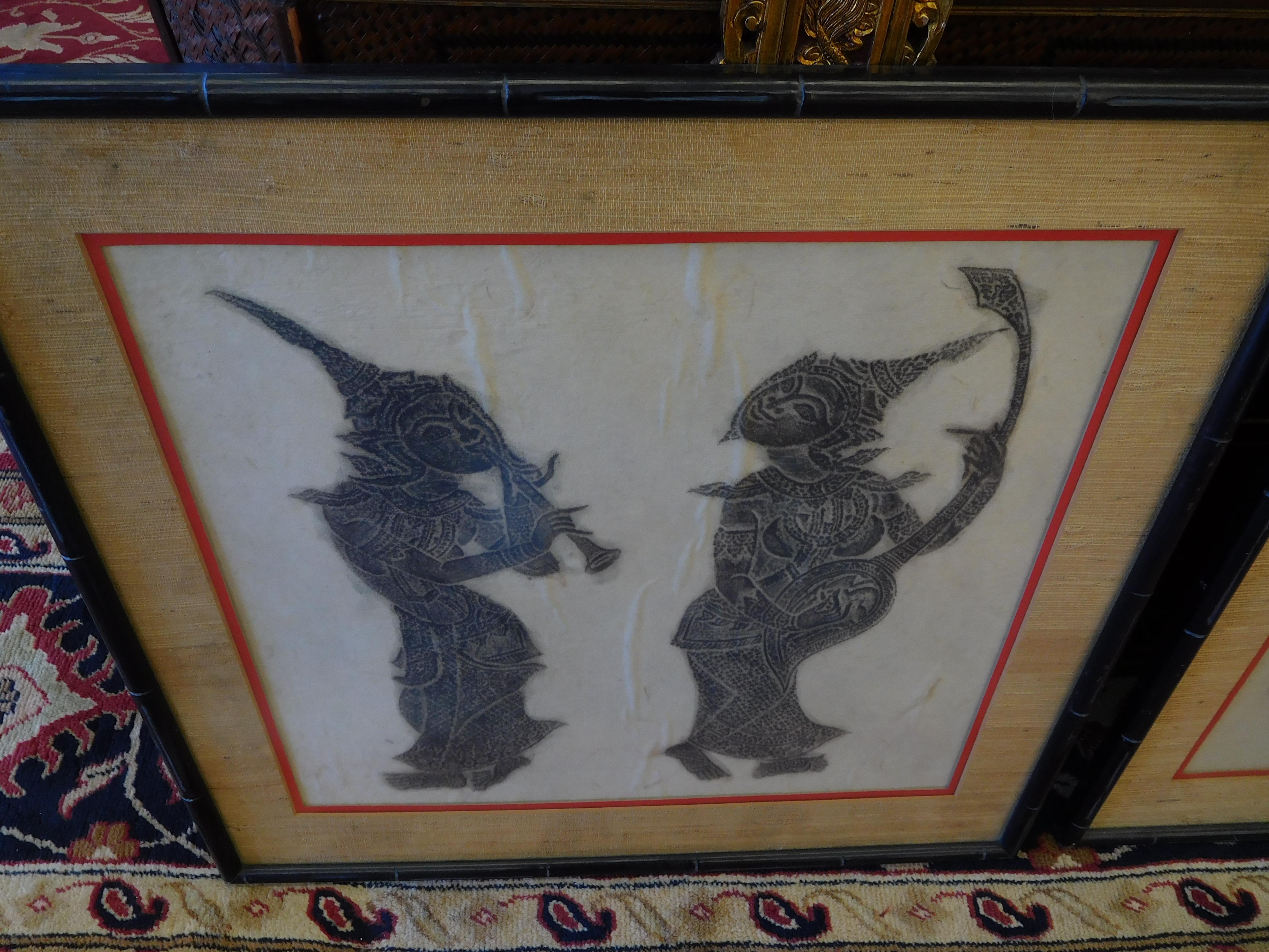 Framed Thai Artwork - 2 Musicians, Horn and Stringed Instrument