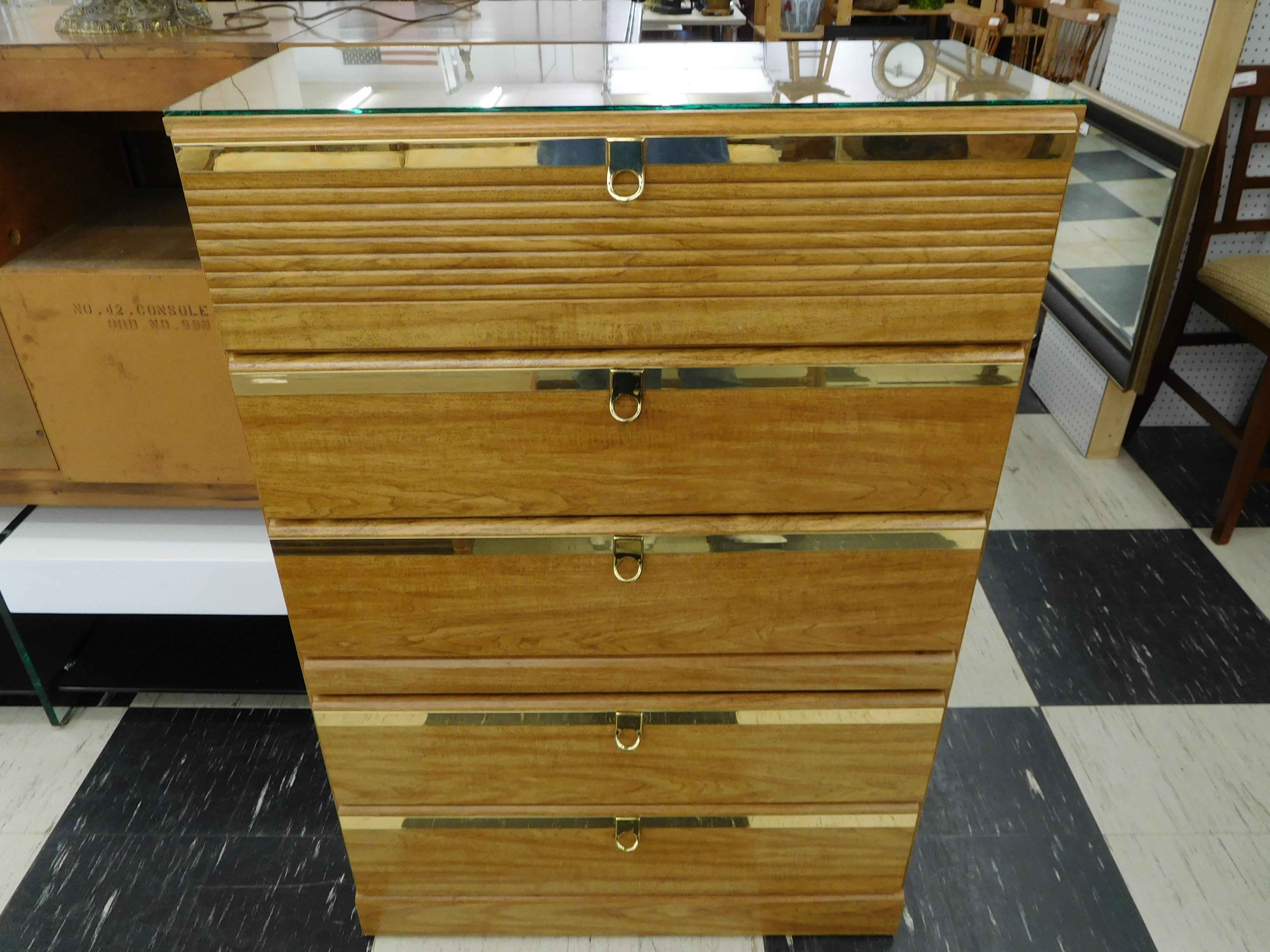 Modern Chest of Drawers with Brass Trimmed Drawers and Pulls