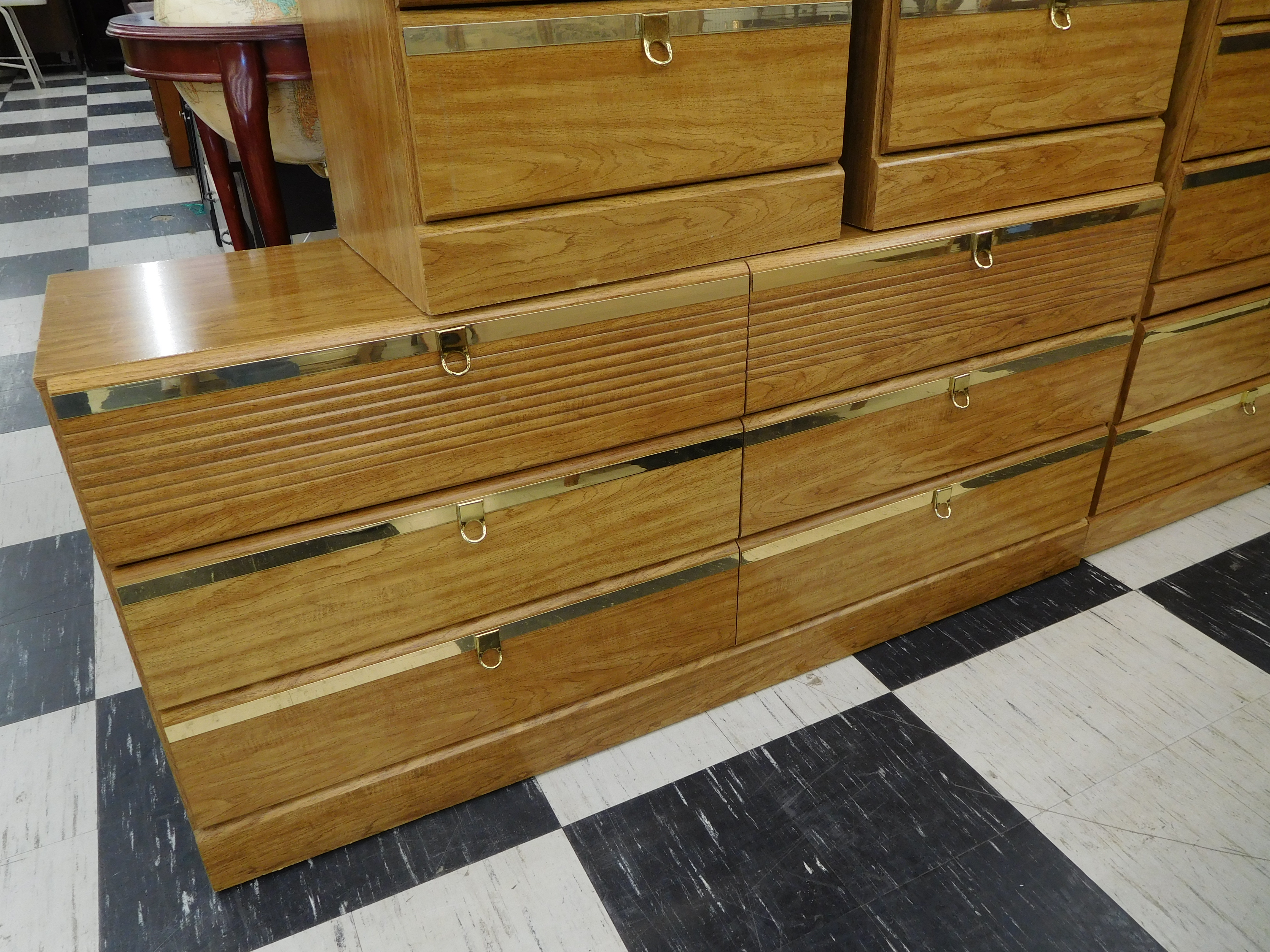 Modern Dresser with Brass Trimmed Drawers and Pulls