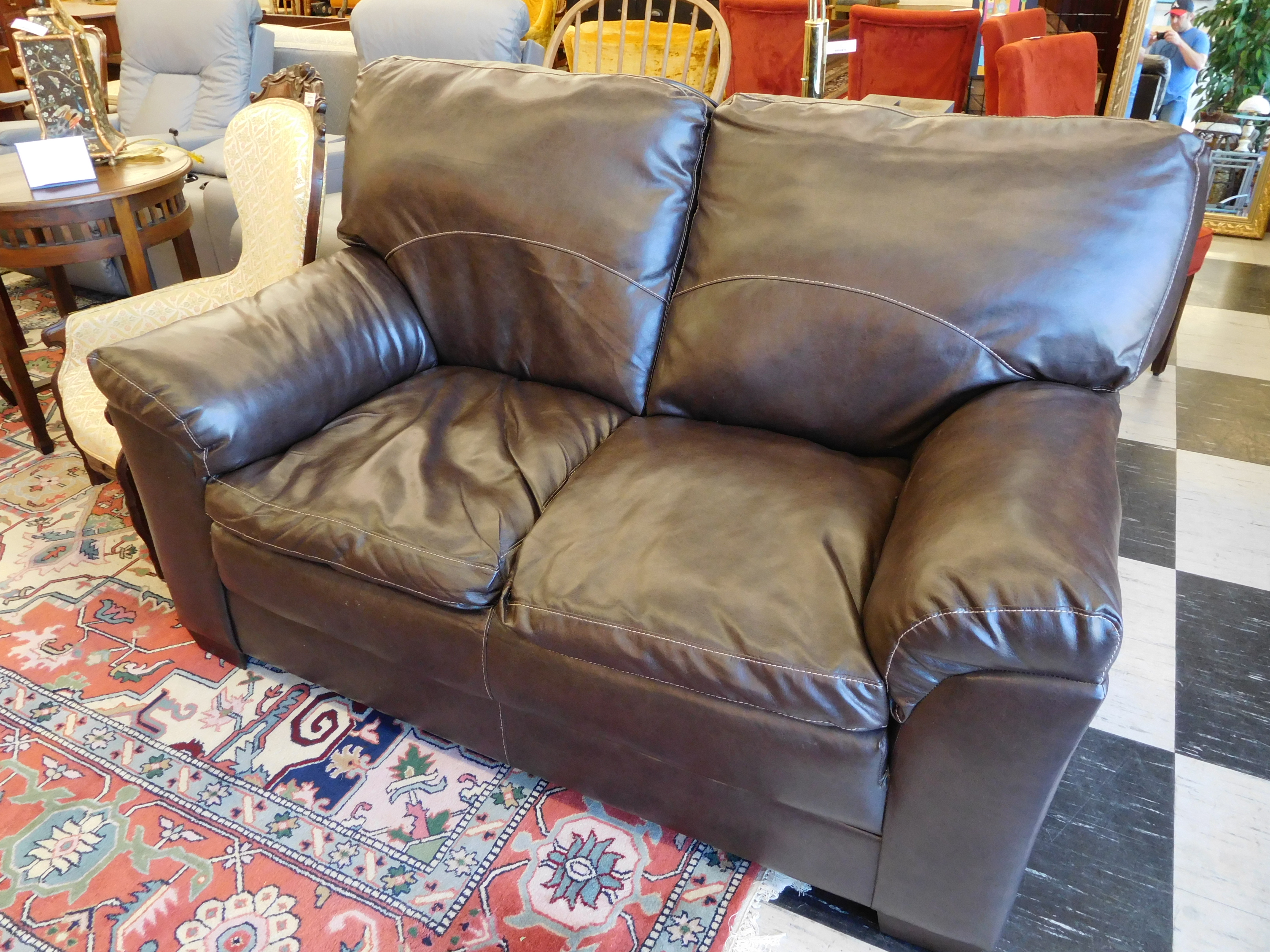 Modern Bonded Leather Love Seat - Brown