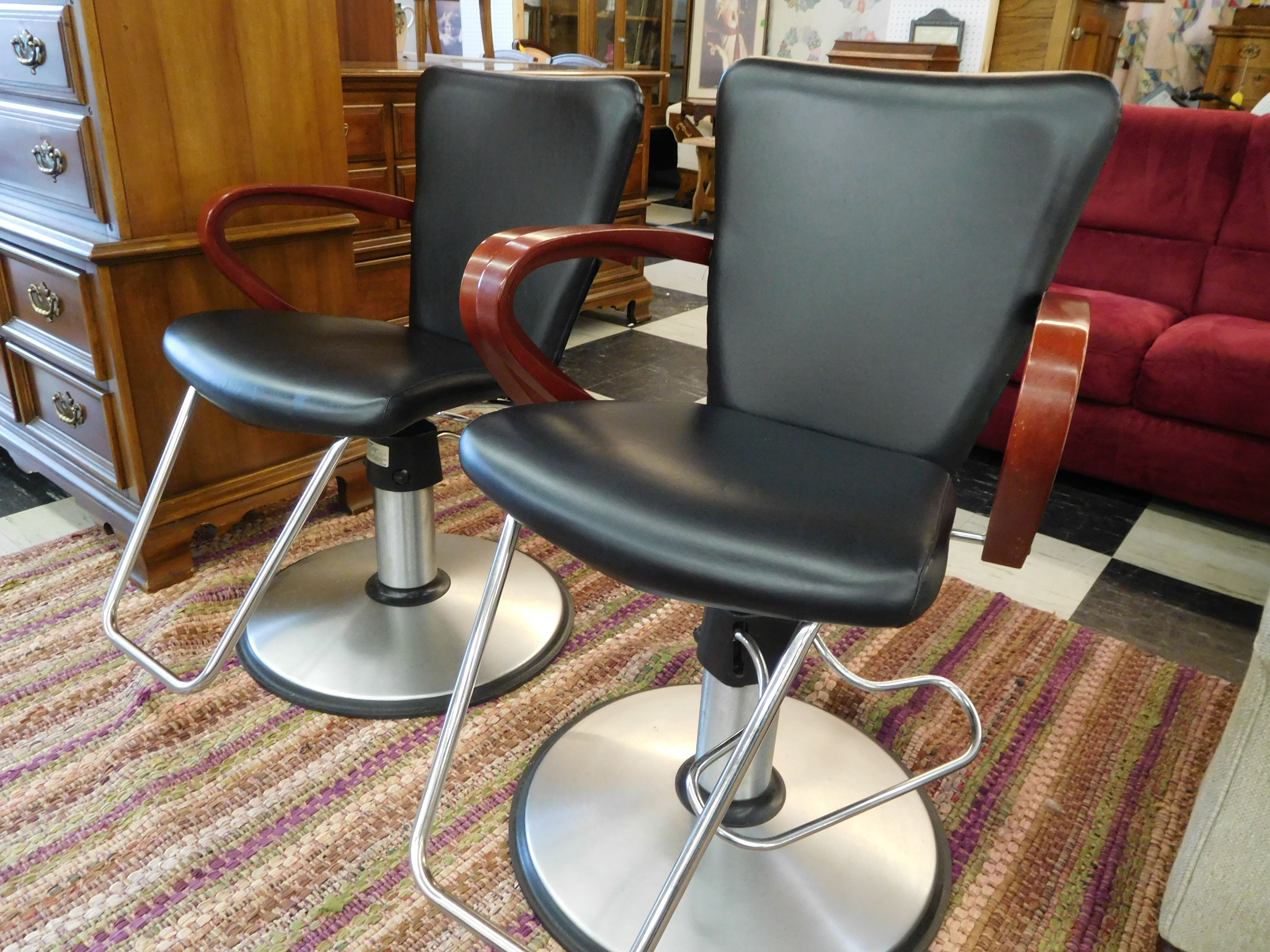 Pair of Belvedere Hydraulic Salon Styling Chairs  - $450 Each, or Both for $880