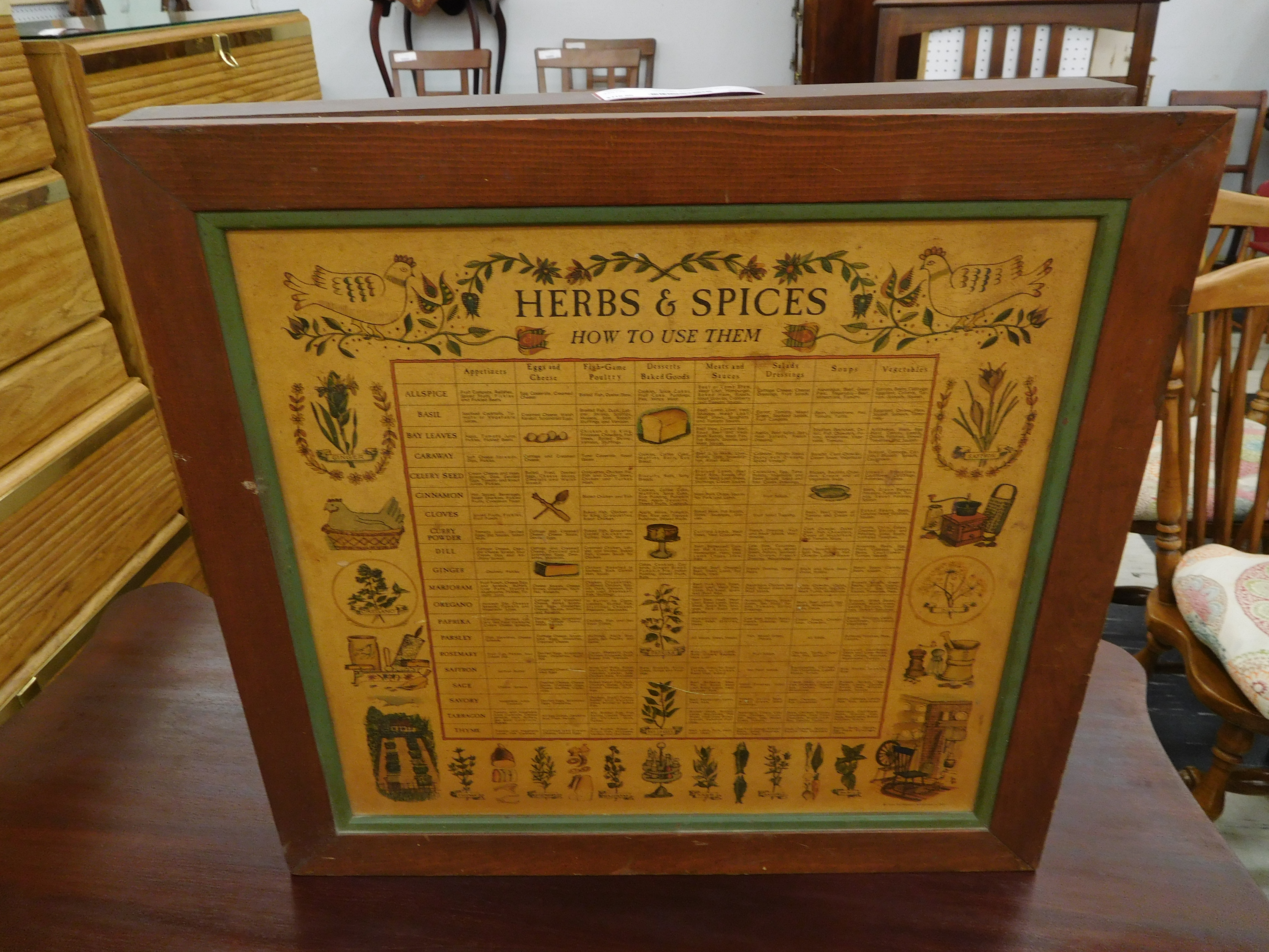 Vintage Wall Spice Cabinet with Chart on Door