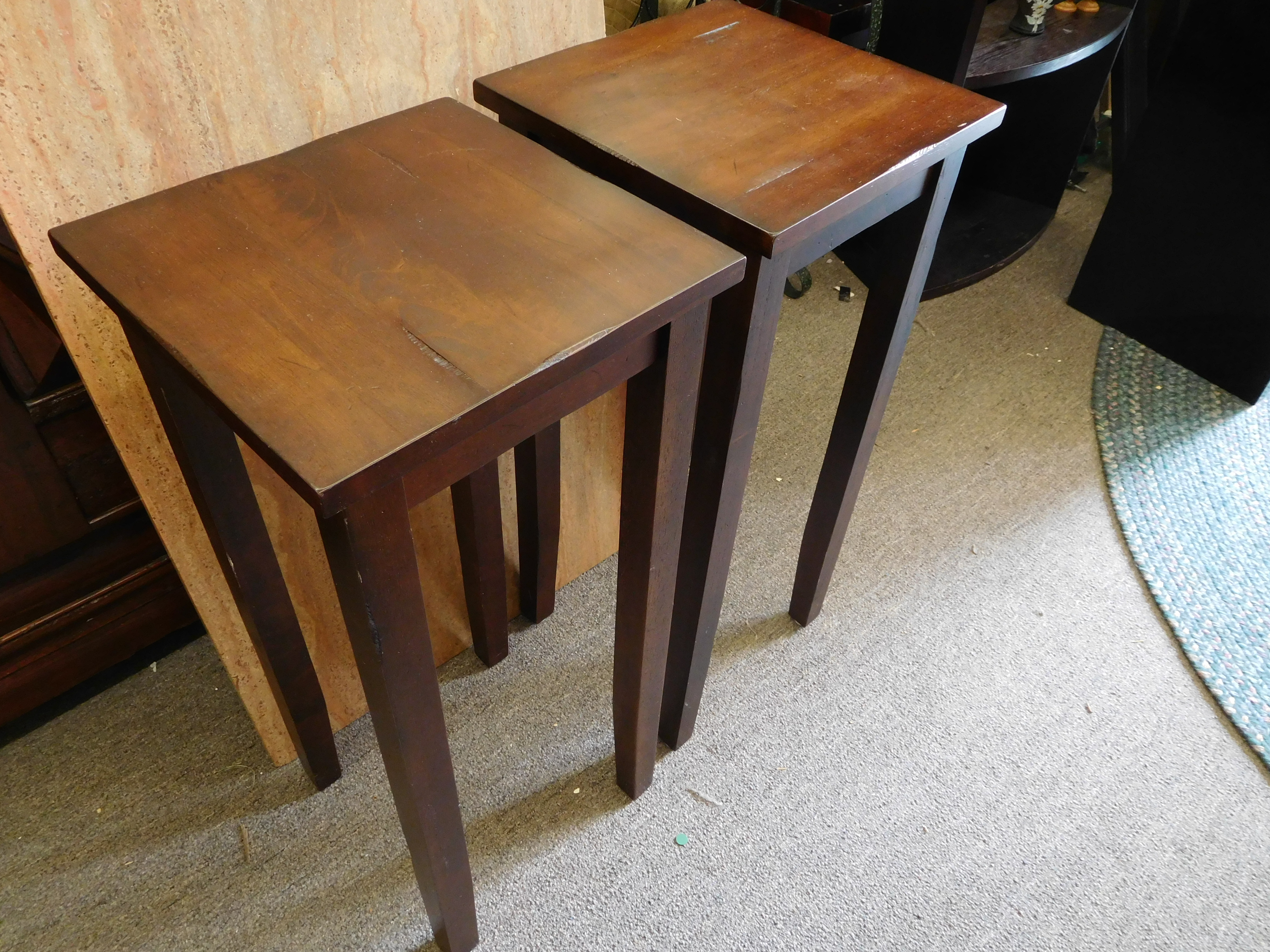 Modern Dark Wood End Table with Square Top and Tapered Legs