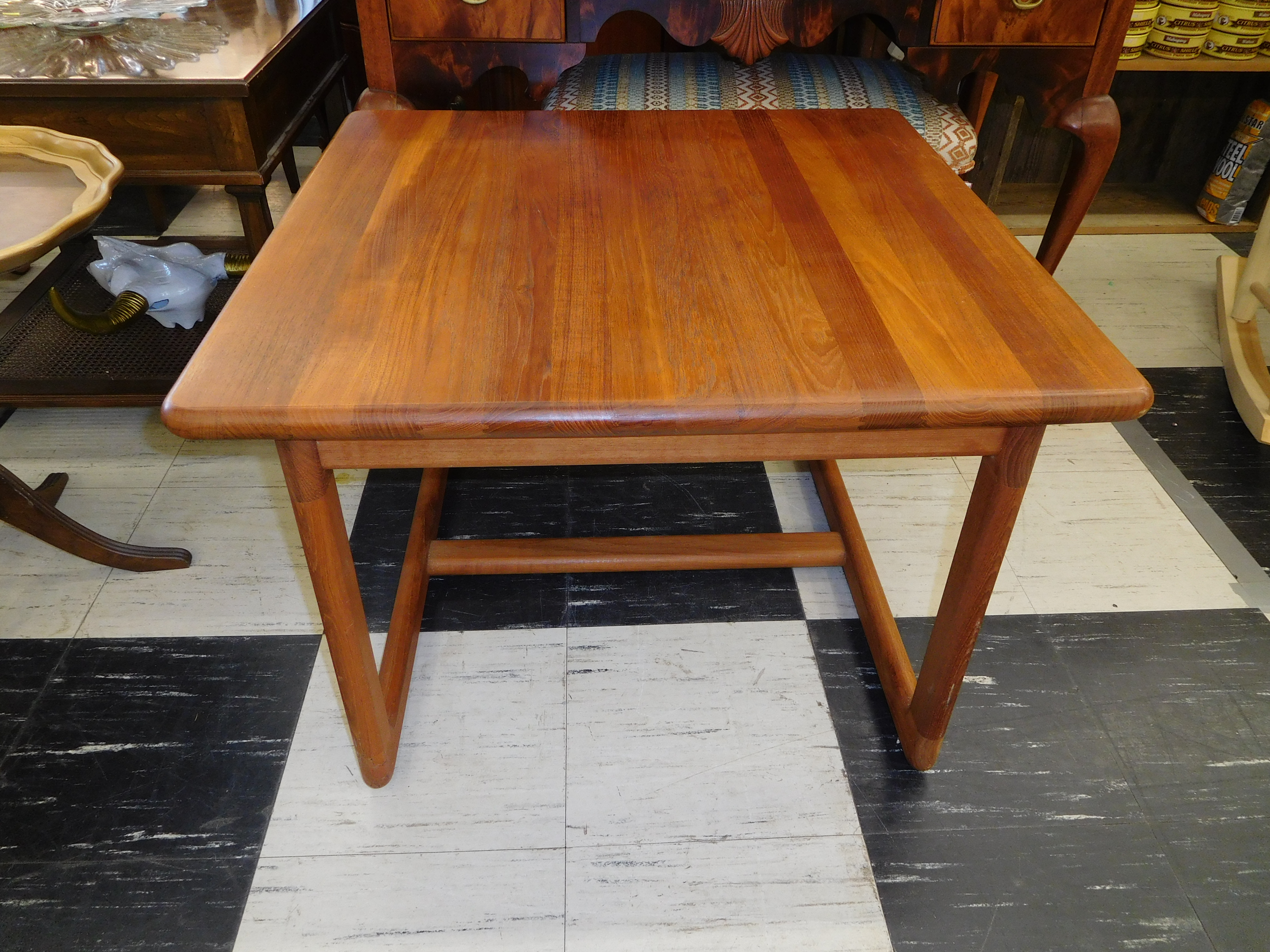 Mid Century Danish Teak End Table with Double